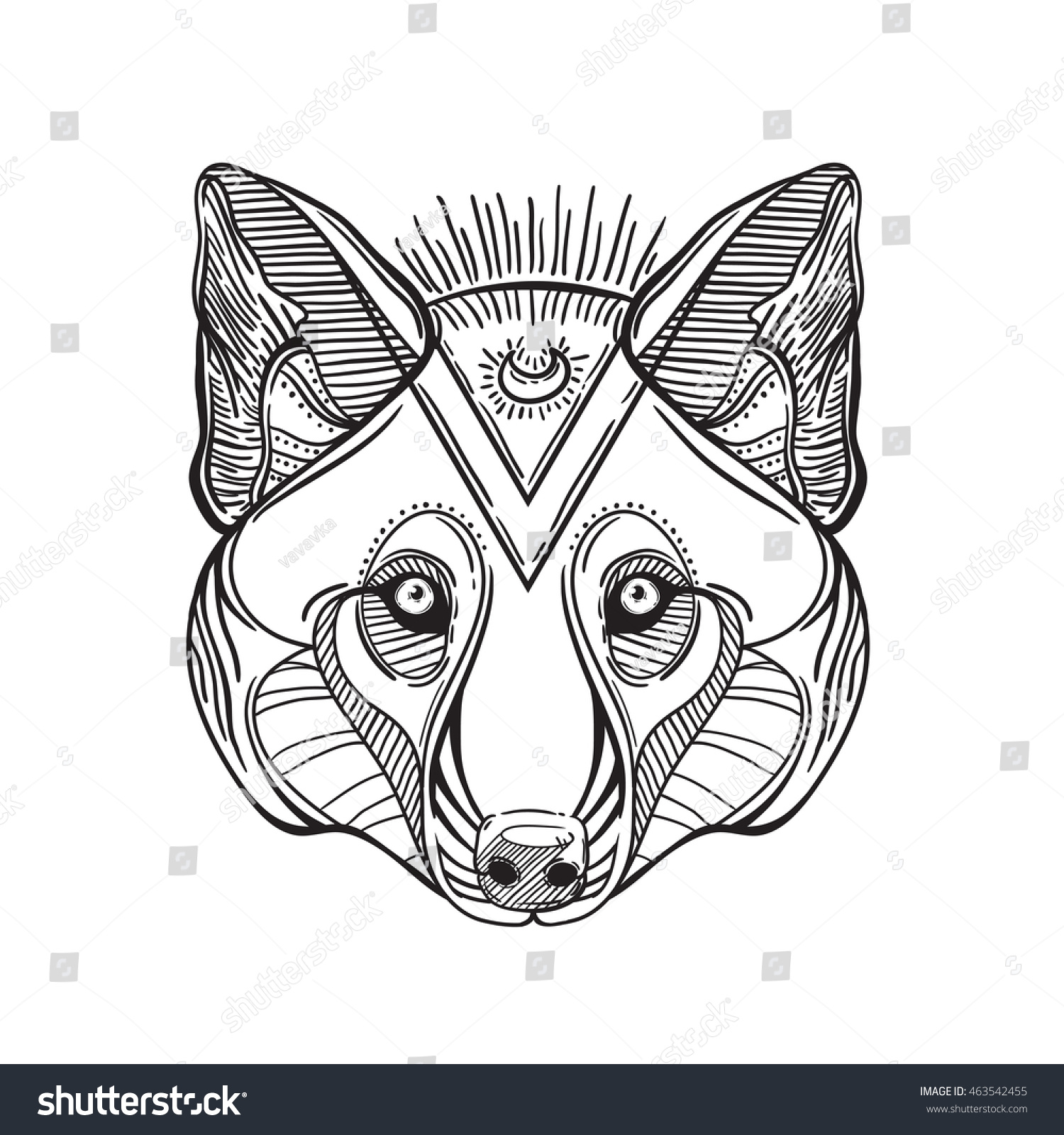 Animal Head Print For Adult Anti Stress Coloring Page Ethnic Patterned Ornate Hand Drawn Vector