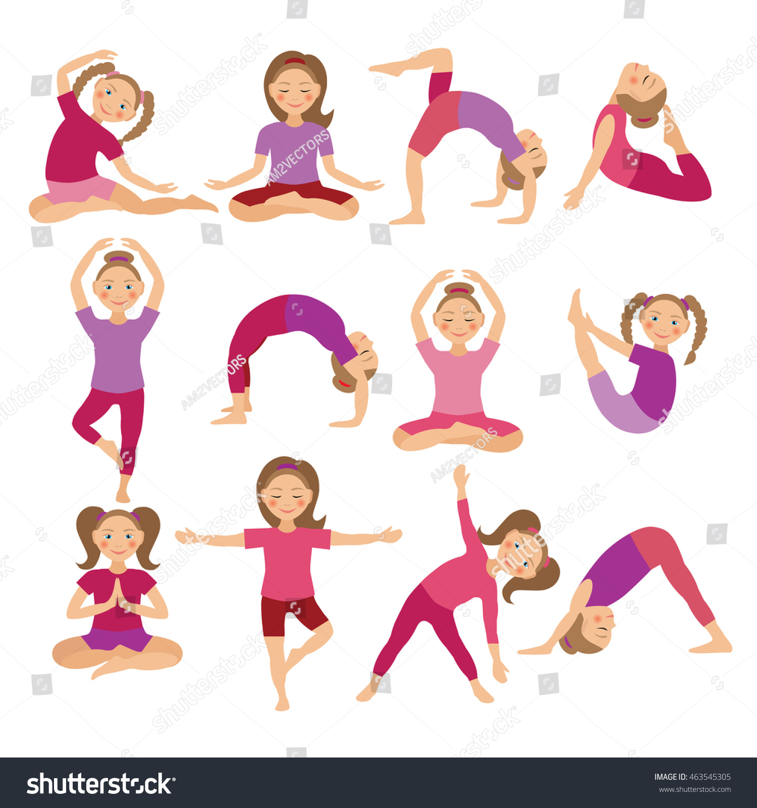 Kids Yoga Poses Illustration Child Doing Stock Illustration