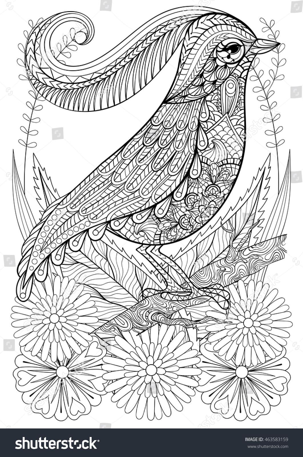 Zentangle Stylized Bird Flowers Hand Drawn Stock Vector 463583159
