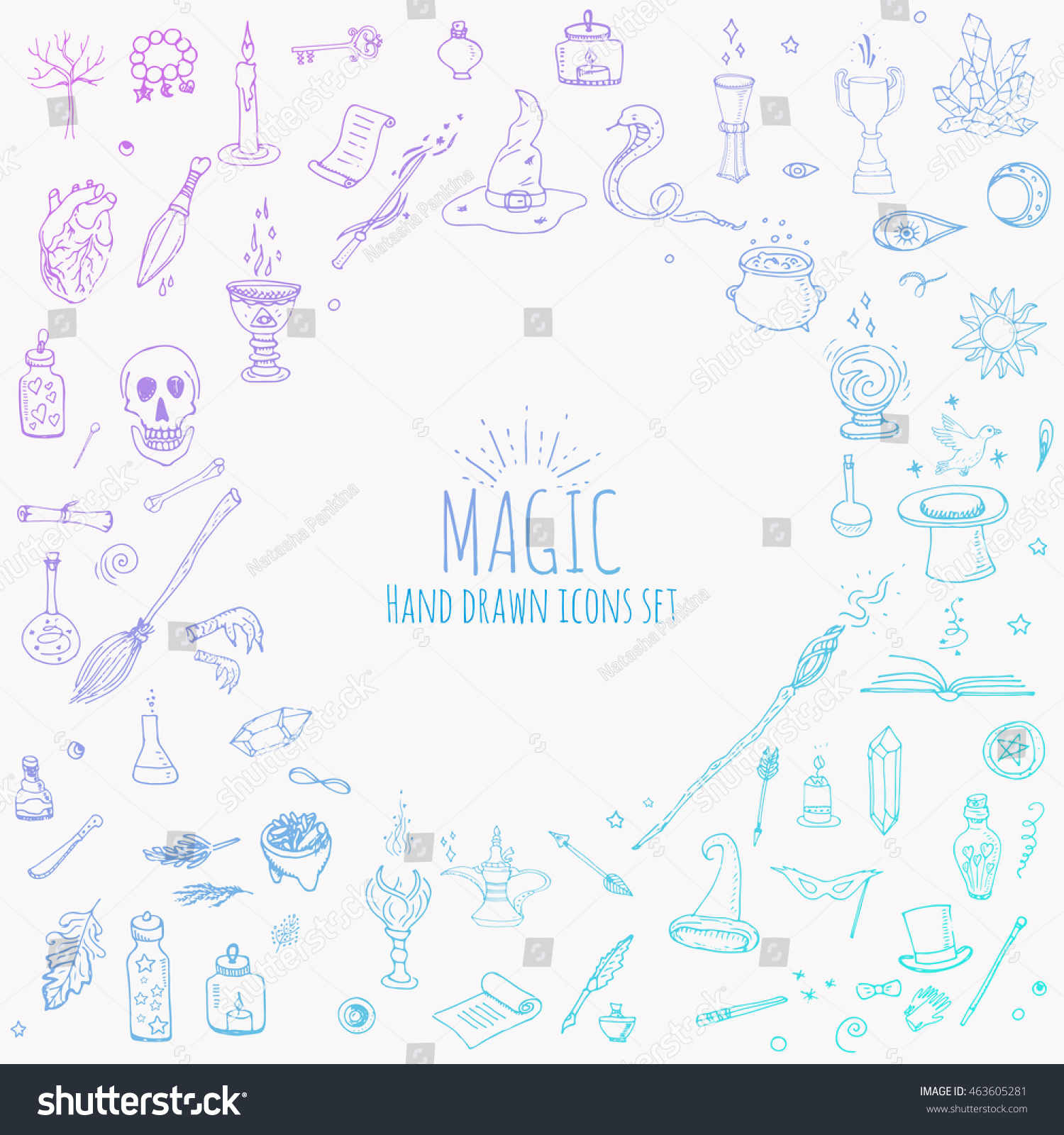 Hand drawn doodle magic set vector stock vector 463605281 hand drawn doodle magic set vector illustration wizardy witchcraft symbols isolated icons collections cartoon sorcery buycottarizona