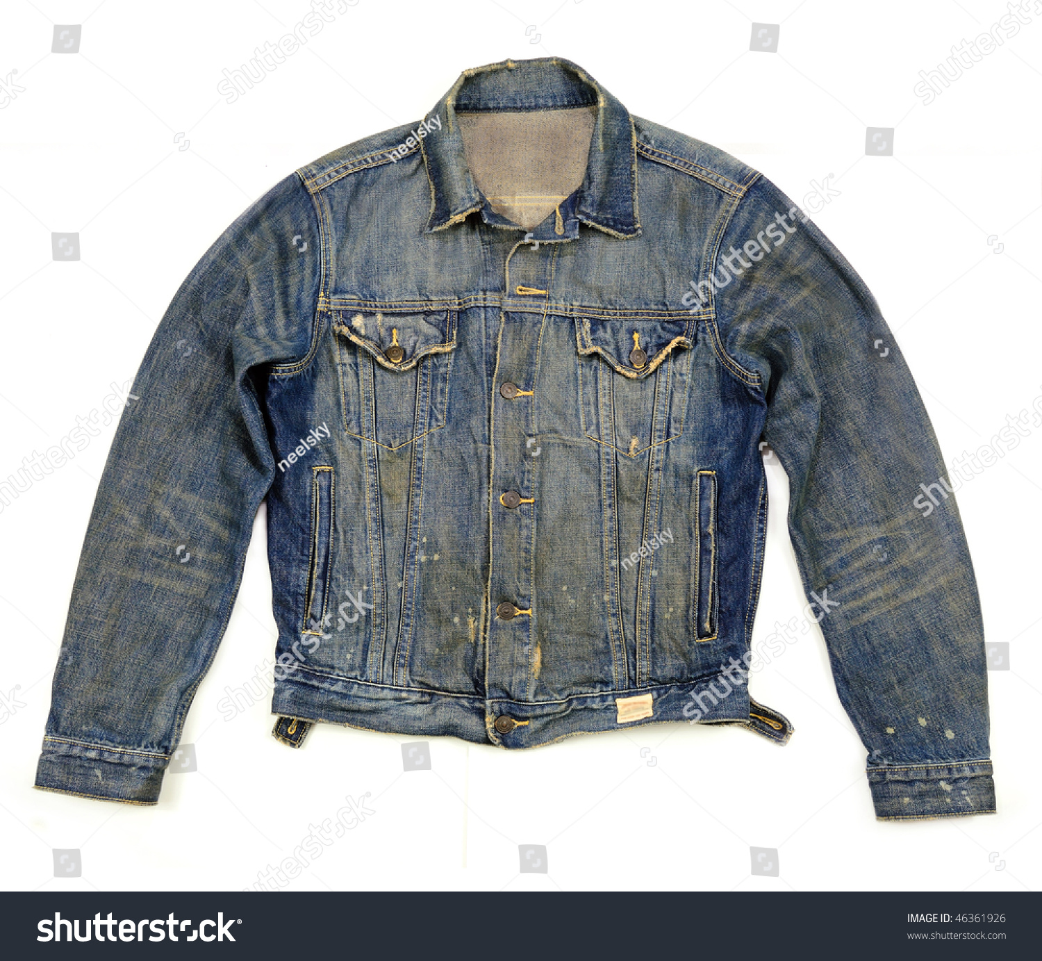 Old Denim Jacket Light Wash Buttoned Ripped And Torn Stock Photo ...