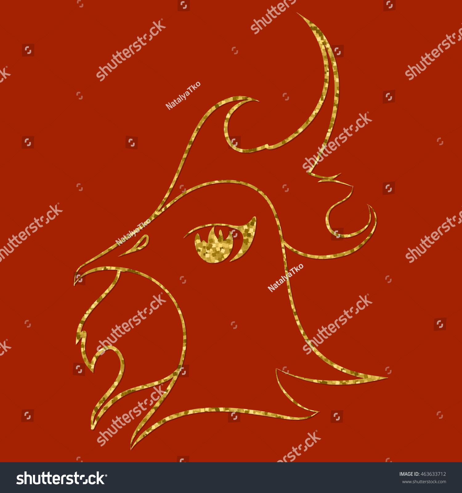 Fire Rooster Chinese Symbol 2017 New Stock Vector 463633712