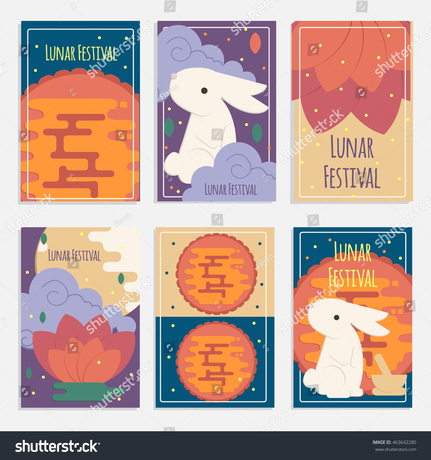 Chinese mid autumn festival banners flat stock vector 463642280 chinese mid autumn festival banners in flat style vector lunar festival concept cards with rabbit kristyandbryce Choice Image