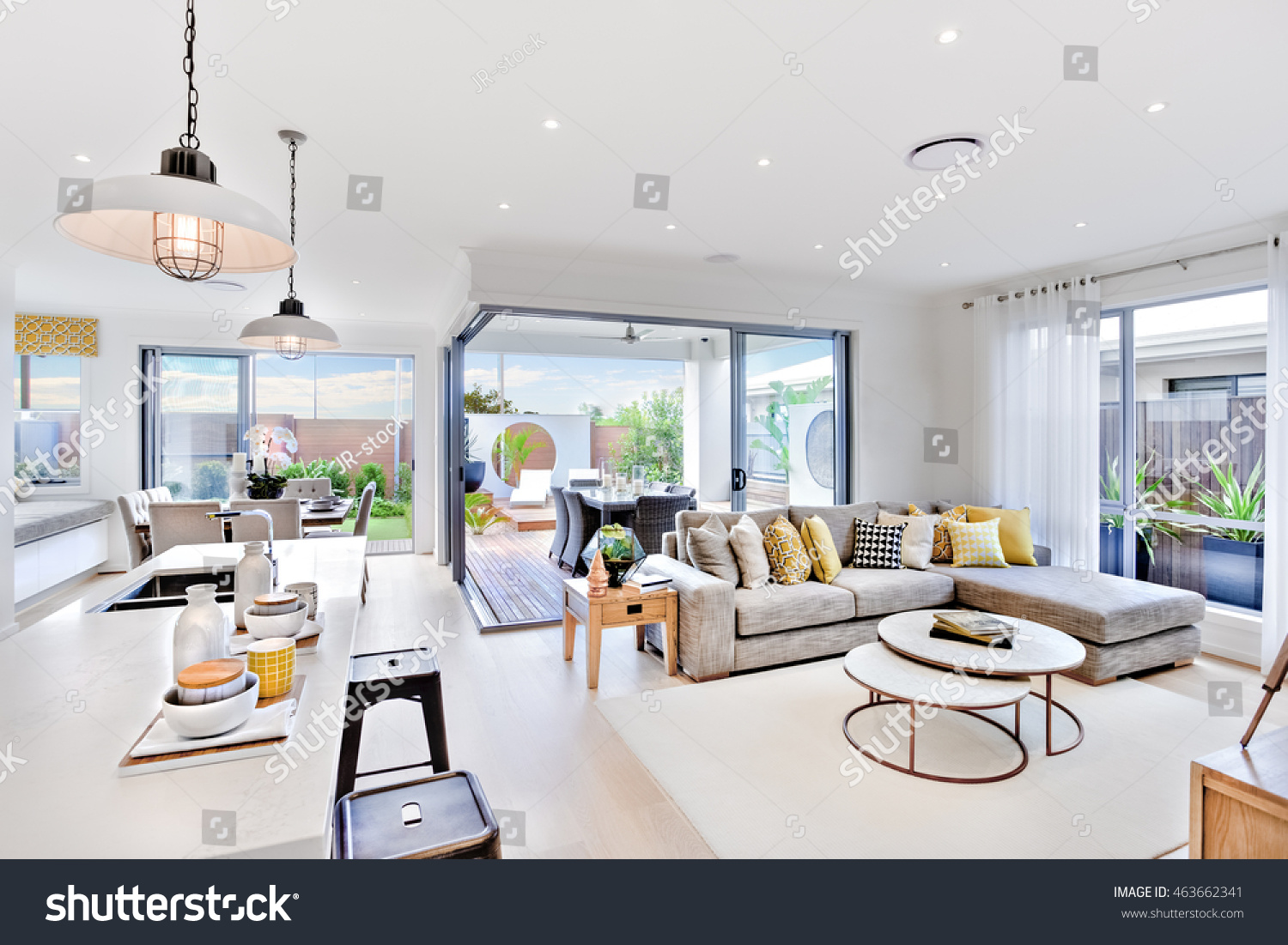 Modern Kitchen Area Attached Living Room Stock Photo (Edit Now ...