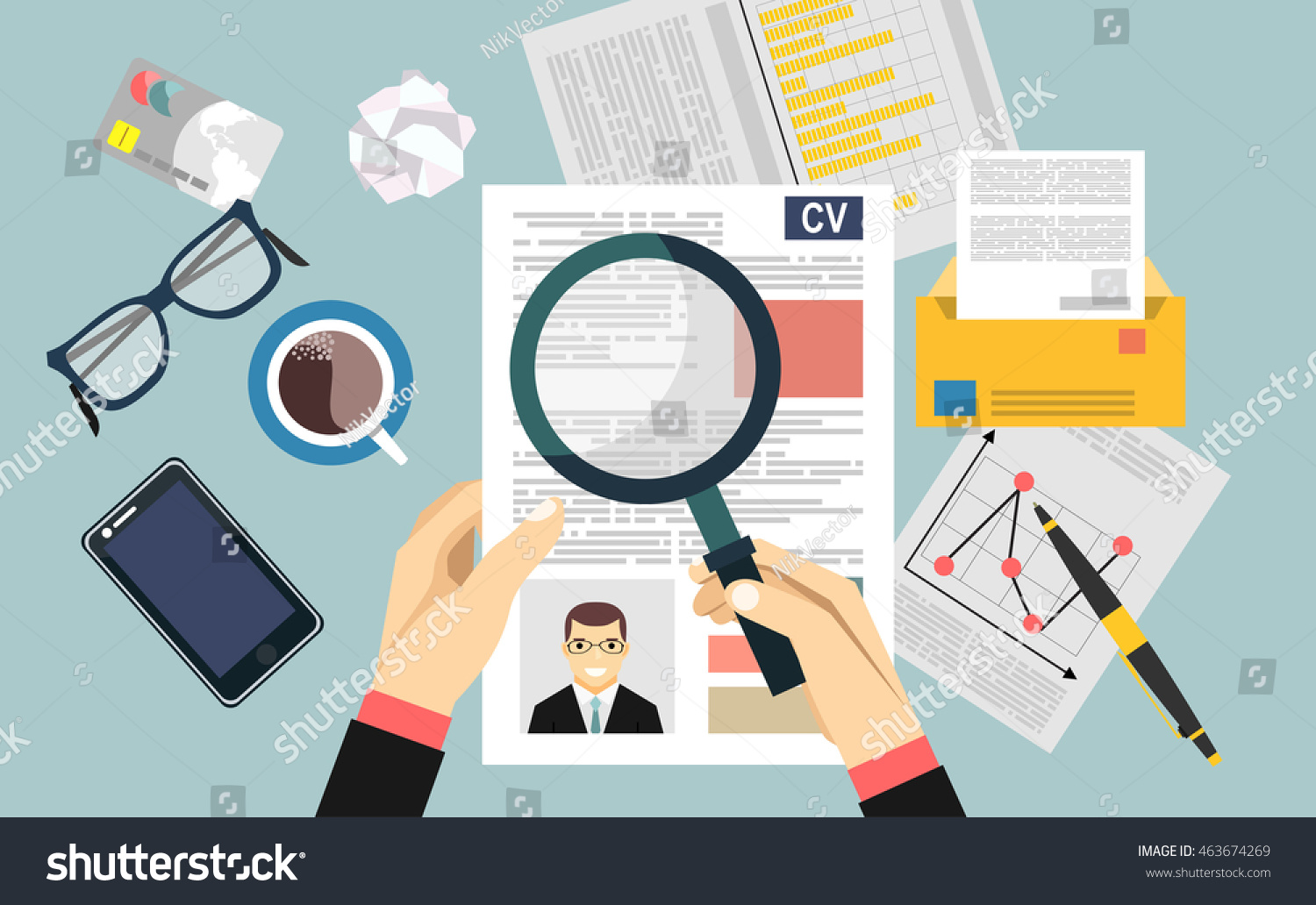 Job Interview Concept Business Cv Resume Stock Vector Royalty Free