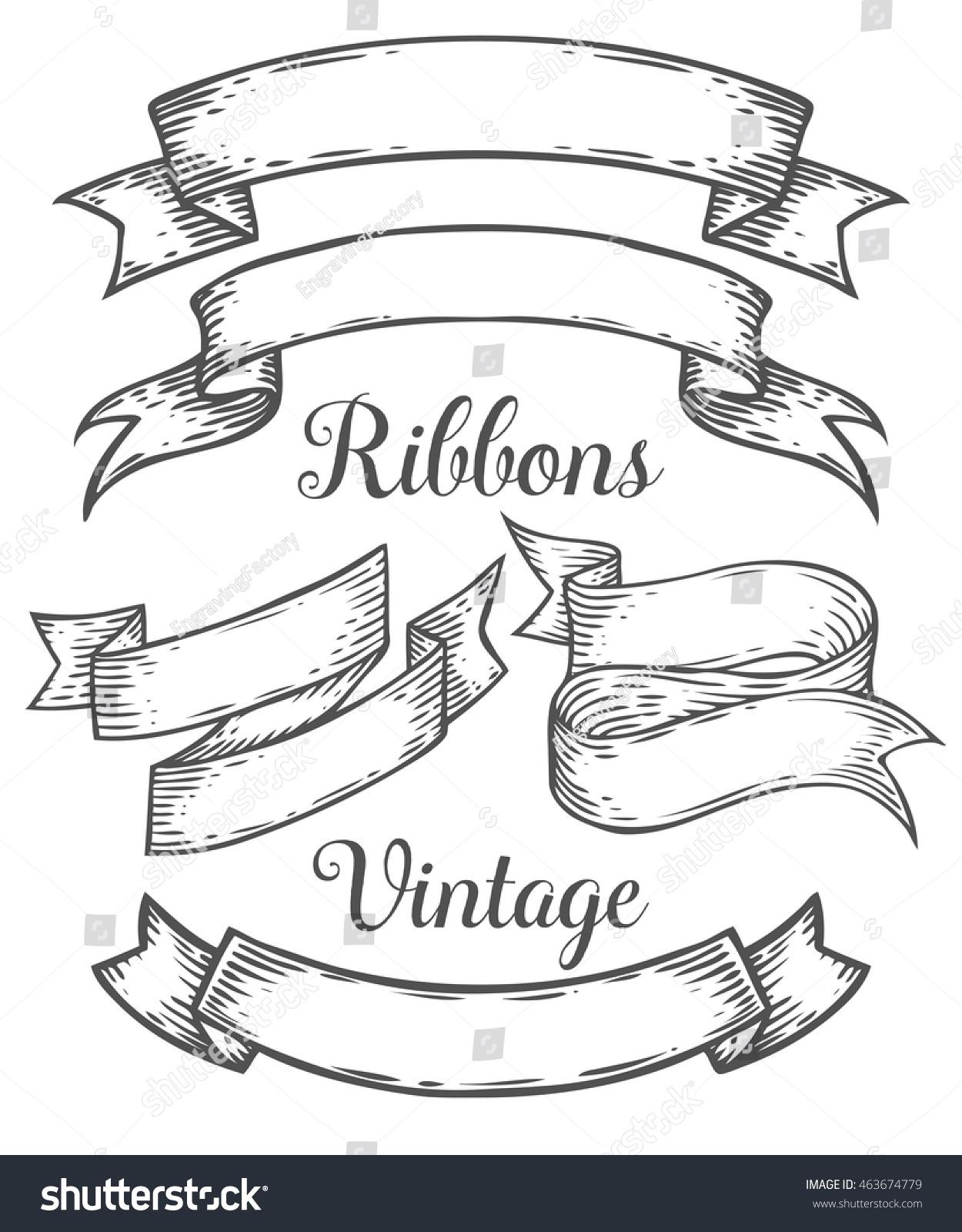 Line Art Ribbon : Ribbon retro vintage hand drawn illustration stock vector