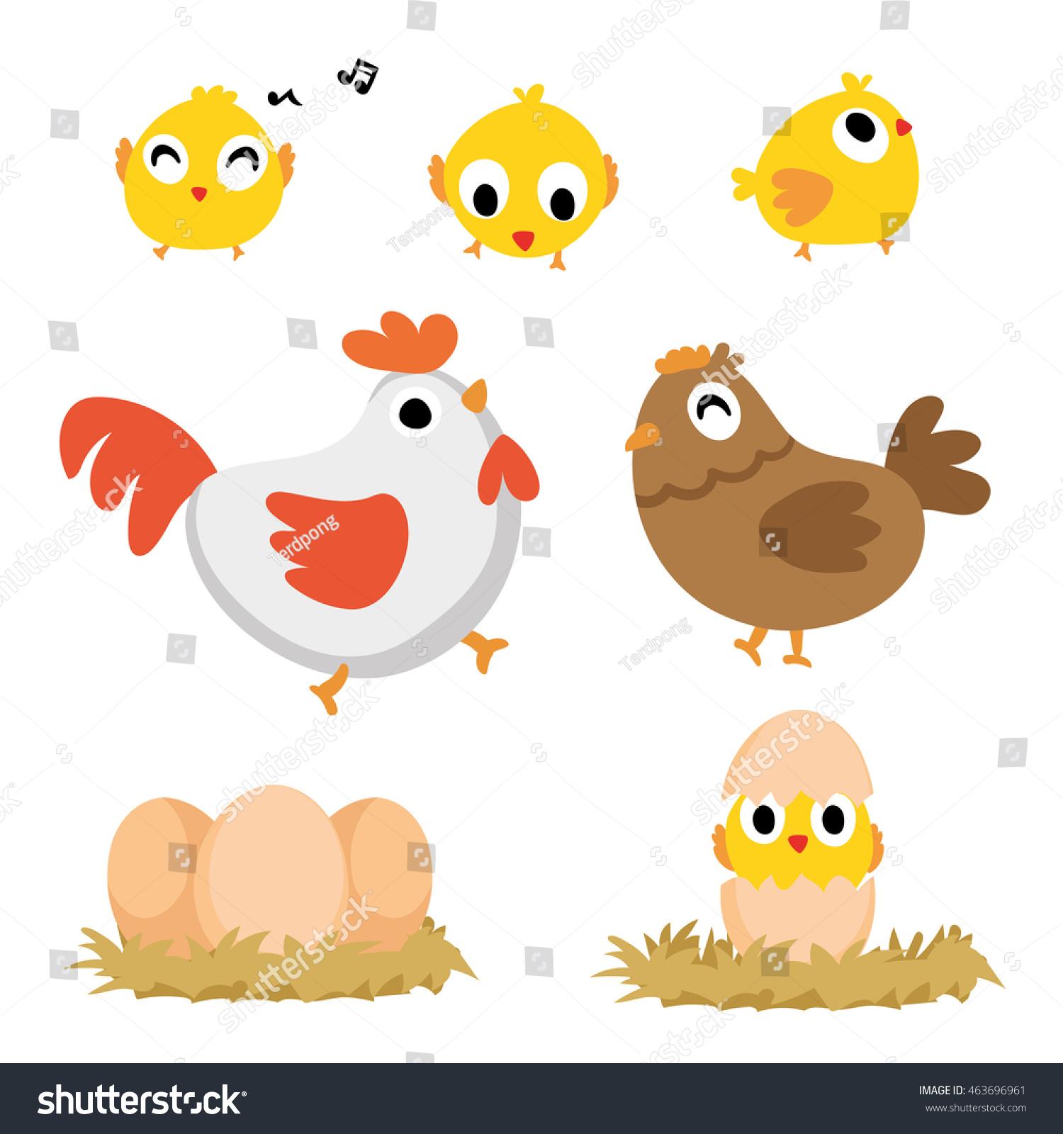 cute cartoon chicken set funny yellow stock vector