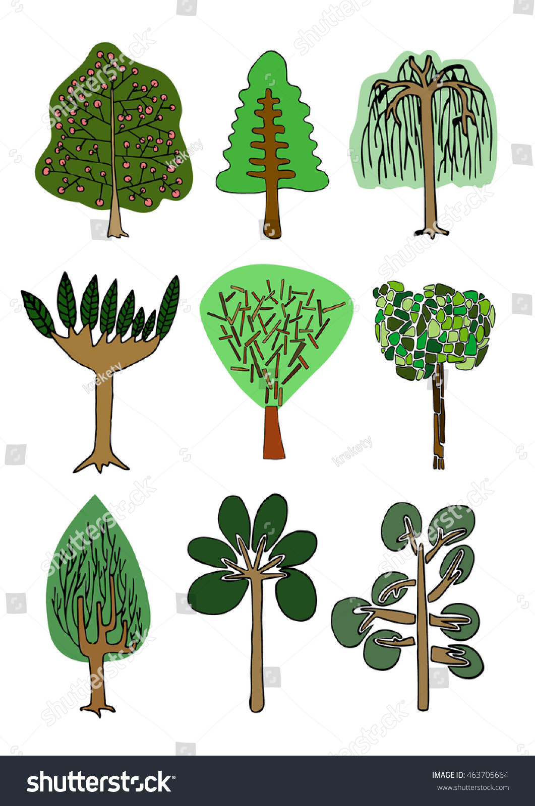 Color Drawing Different Exotic Trees Stock Vector 463705664 ...