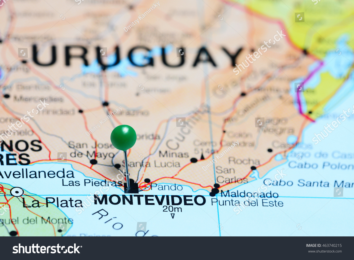 Montevideo Pinned On Map Uruguay Stock Photo Shutterstock - Montevideo map