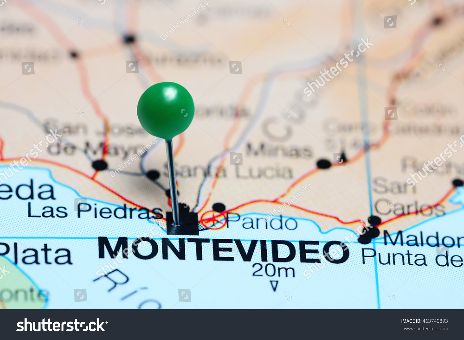 Image of: Montevideo Pinned On Map Uruguay Stock Photo Edit Now 463740893