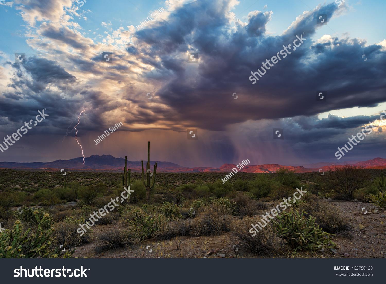 Monsoon thunderstorm with lightning