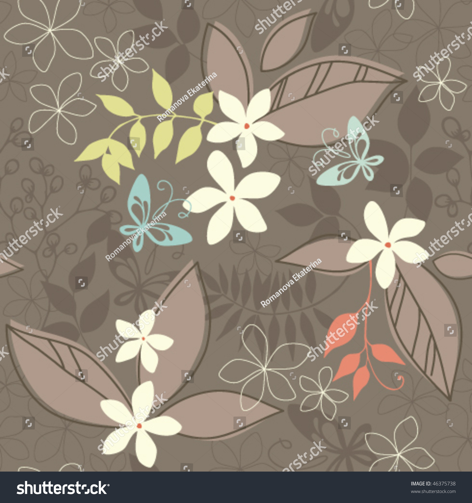Easy To Use Textile Wallpaper Seamless Pattern Stock