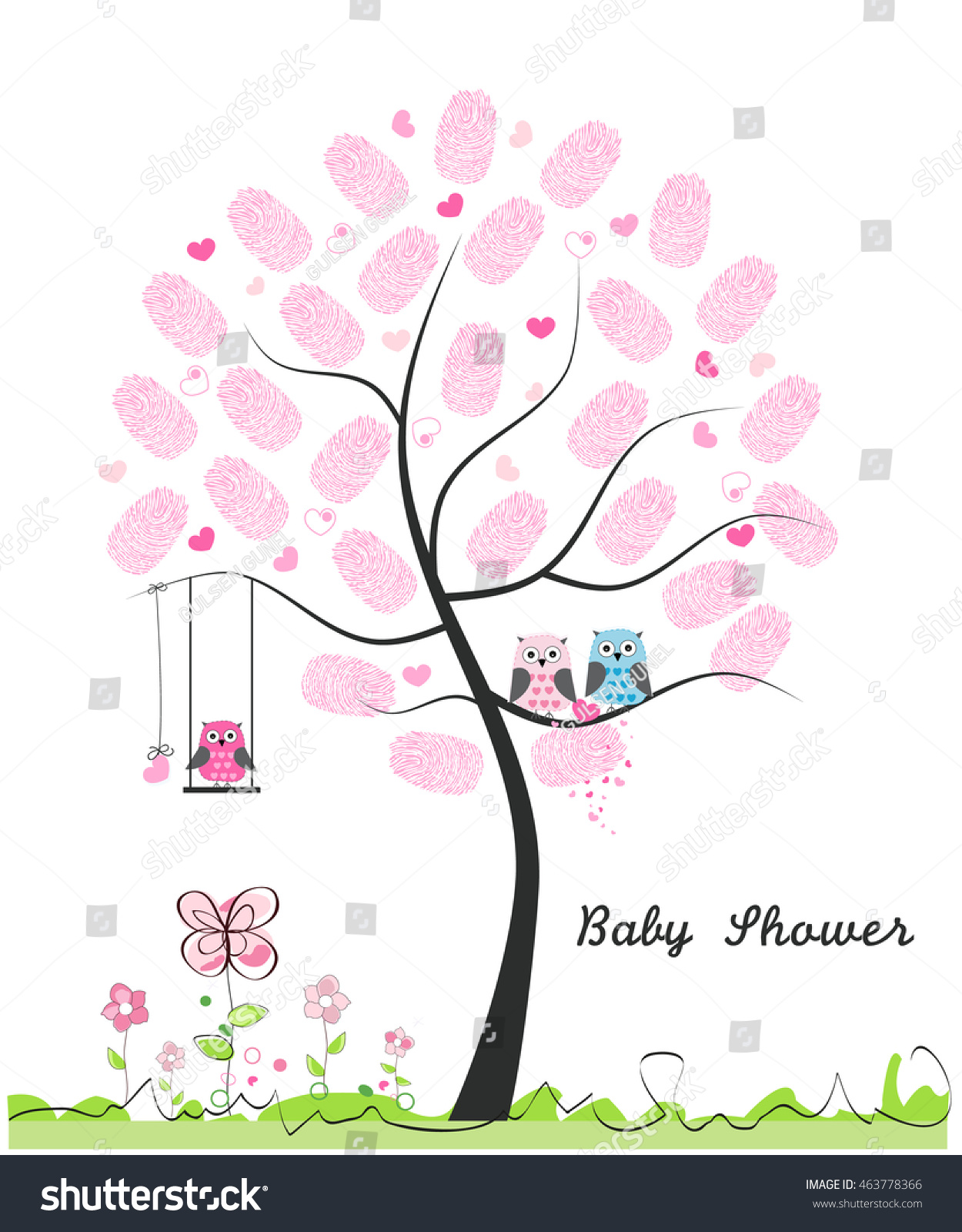 Baby Shower Greeting Card Baby Girl Stock Vector