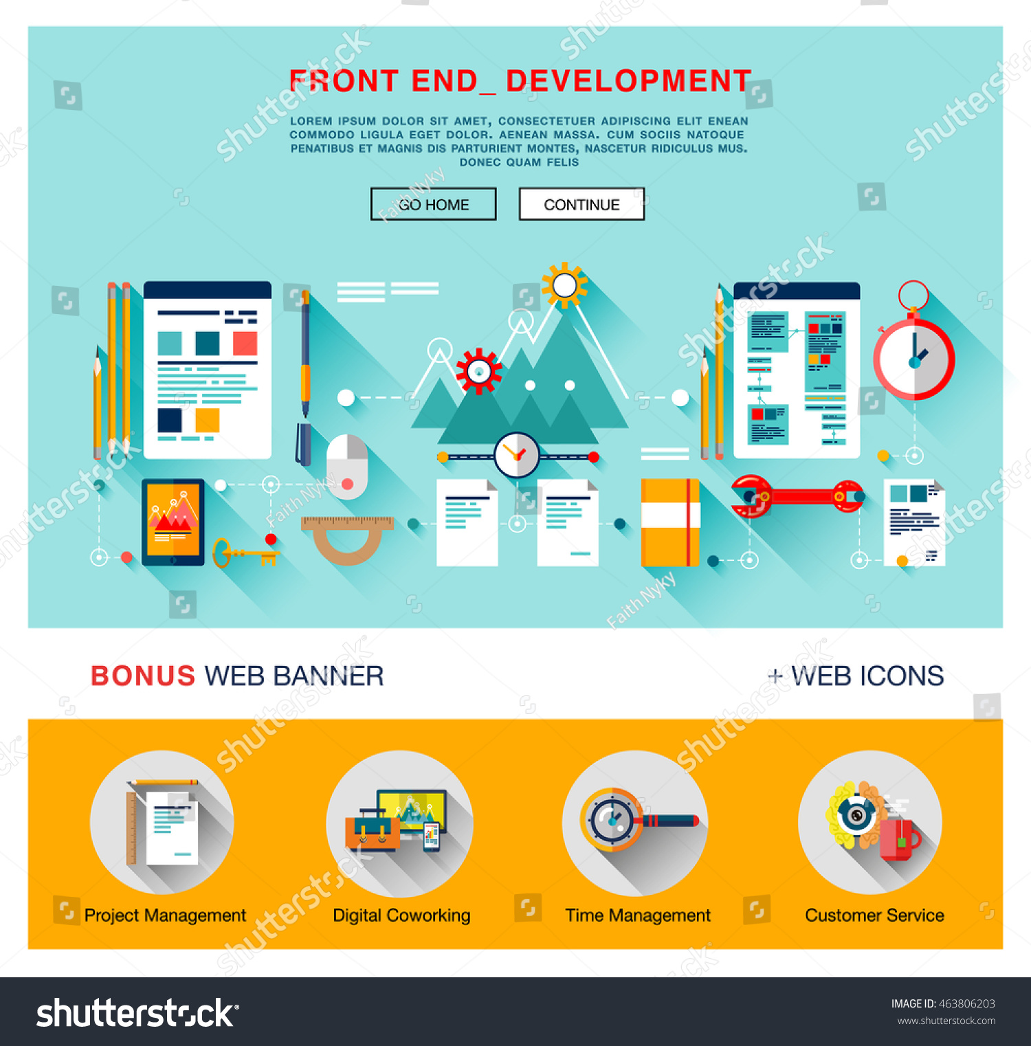 Flat front end development application programming stock for App layout design software