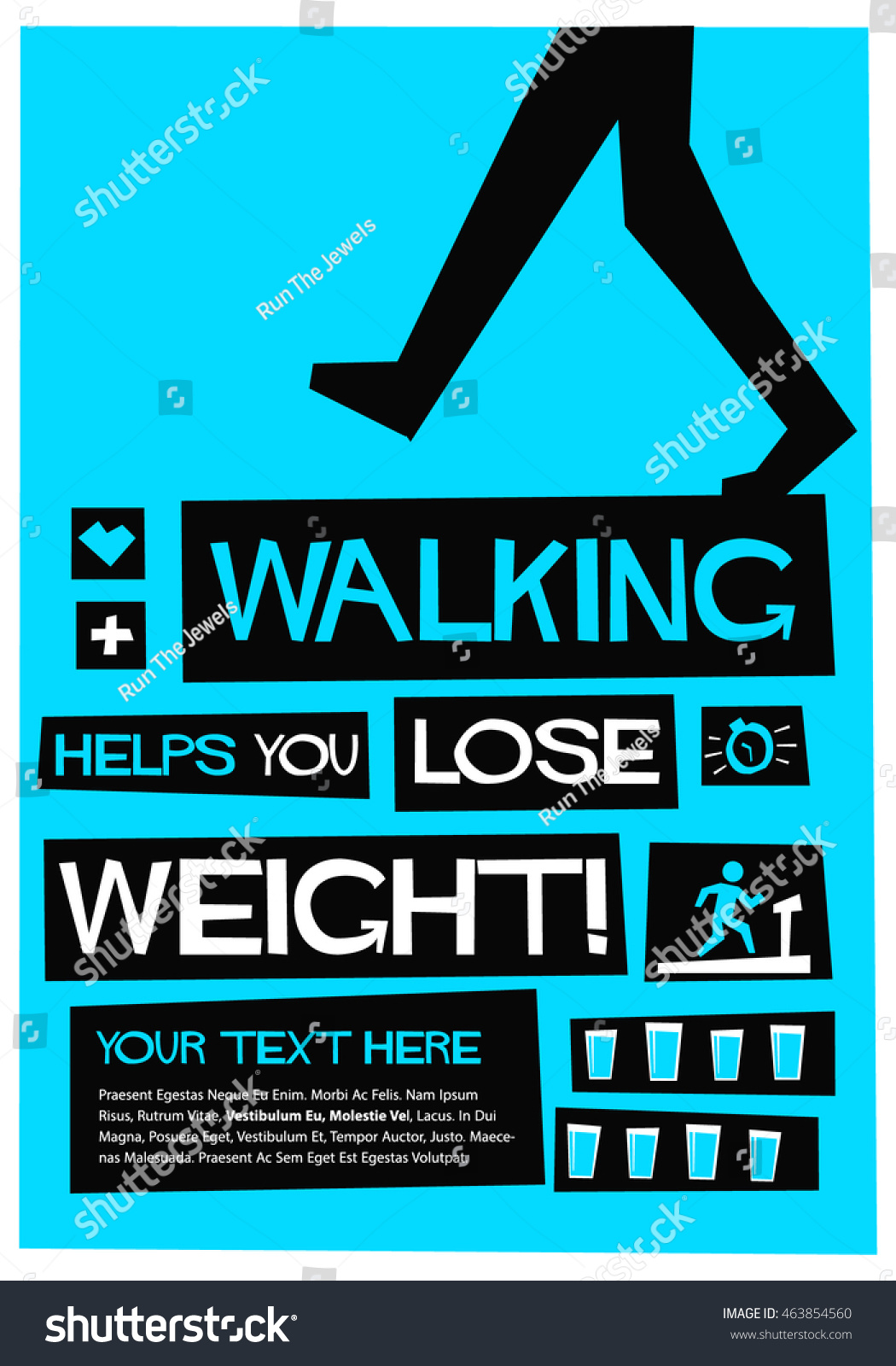 walking helps you lose weight flat stock vector (royalty free