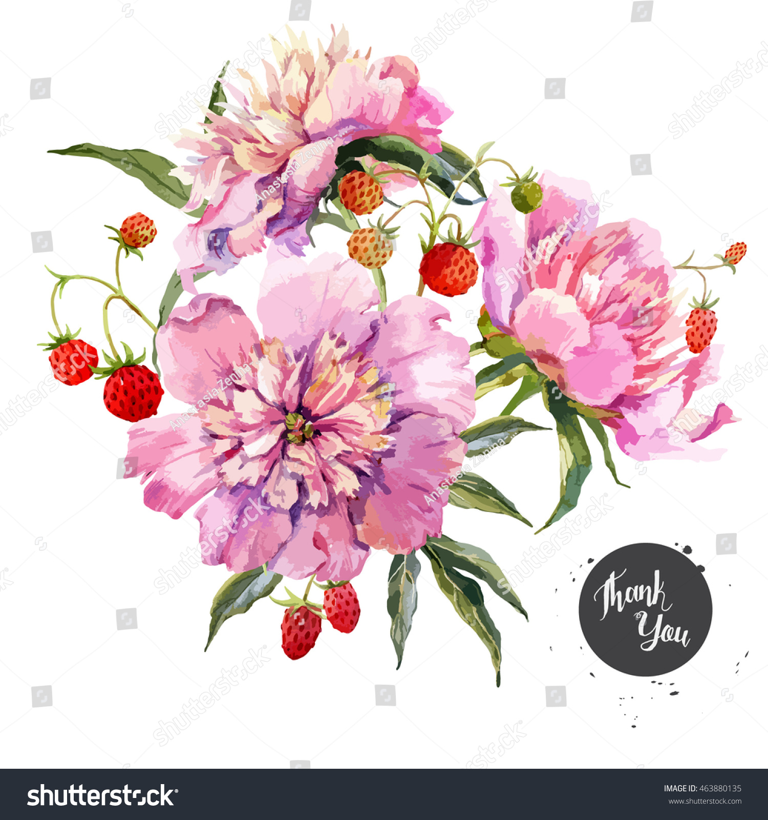 Watercolor vector floral botanical card flower stock vector watercolor vector floral botanical card flower pink peony and strawberries mightylinksfo