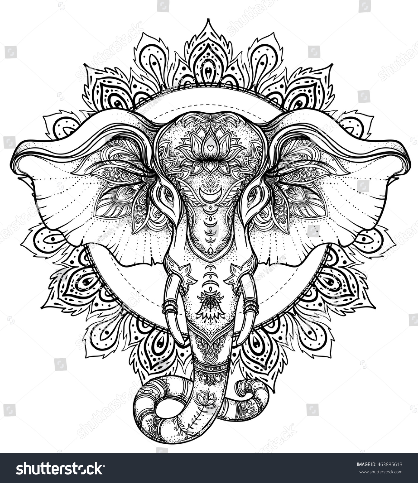 Beautiful Handdrawn Tribal Style Elephant Coloring Stock