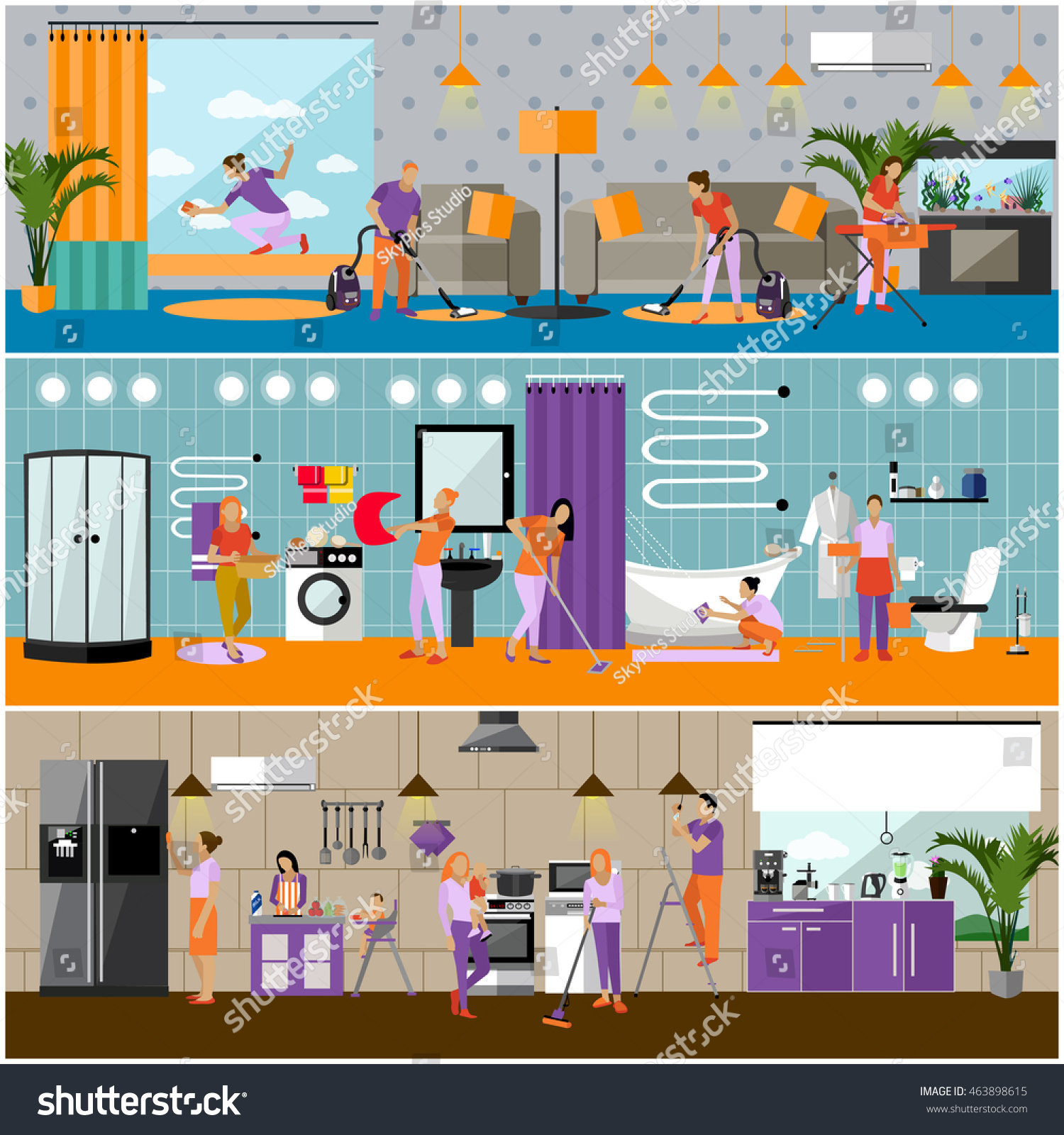 Set Cleaning Service Concept Banners People Stock Illustration ...