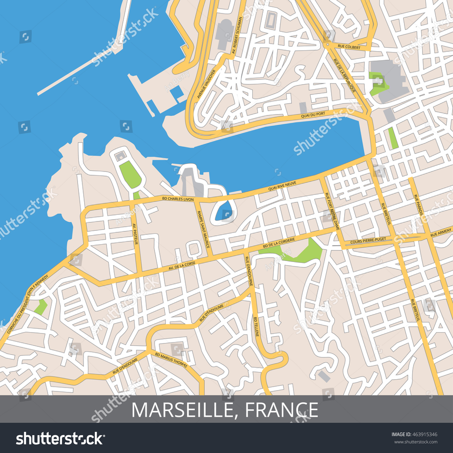 Vector Color Map Marseille France All Stock Vector HD Royalty Free - Rue france map