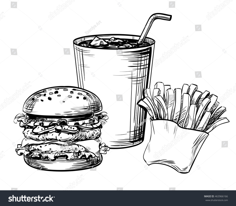 Line Drawing Food : Sandwich hamburger burger fast food french stock vector