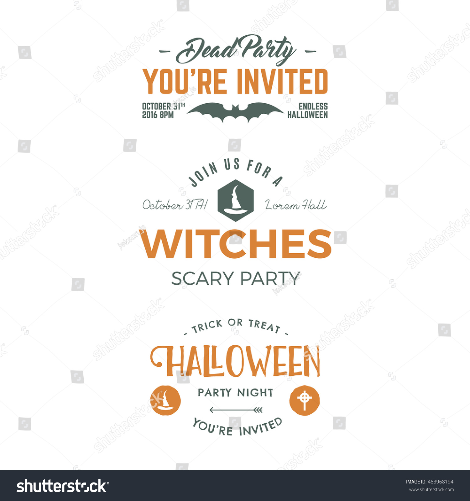 halloween 2016 party invitation label templates stock vector