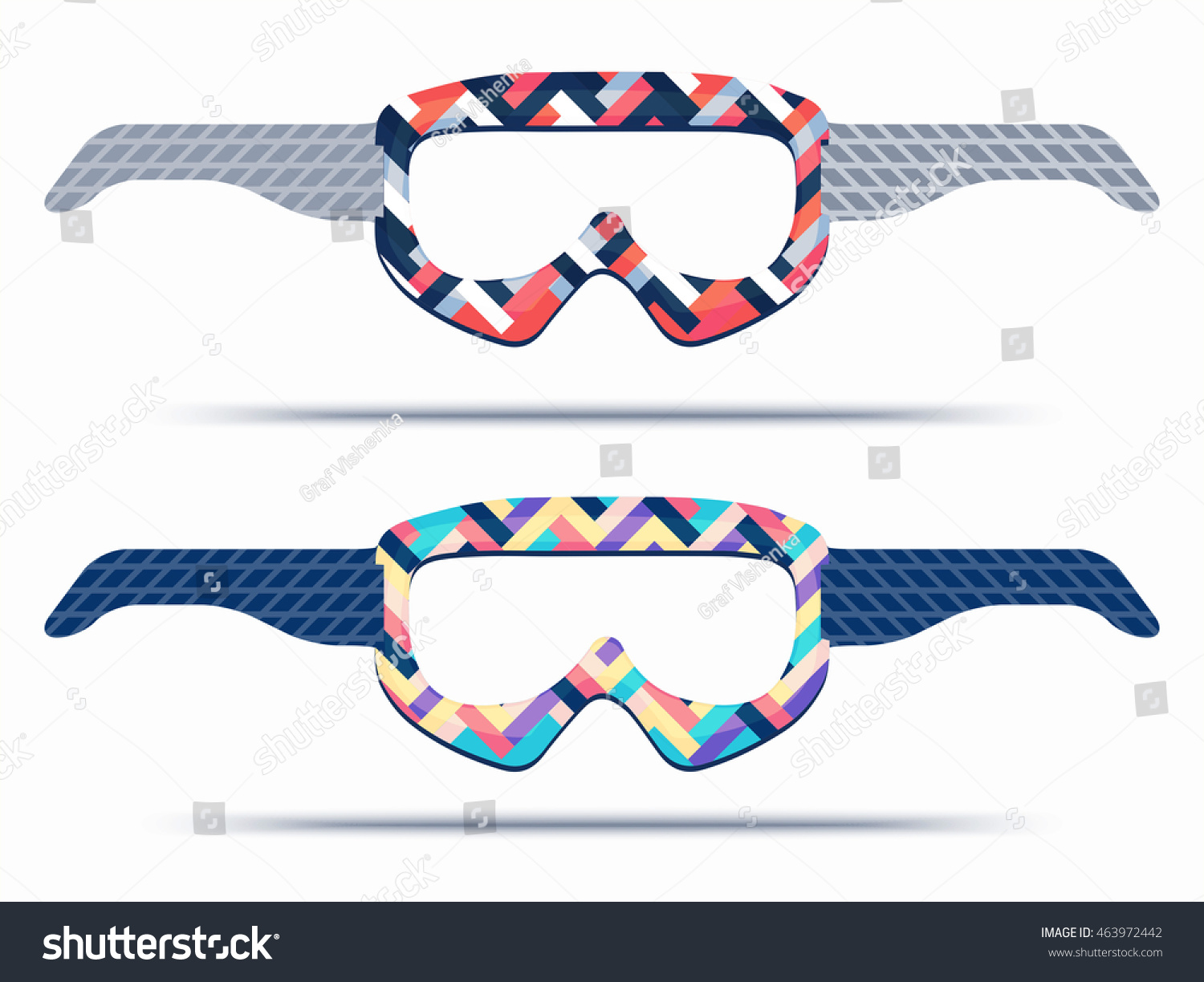 Mountain ski snowboard goggles blueprint template stock vector mountain ski and snowboard goggles blueprint template for die cutting trendy print glasses for paper malvernweather Choice Image