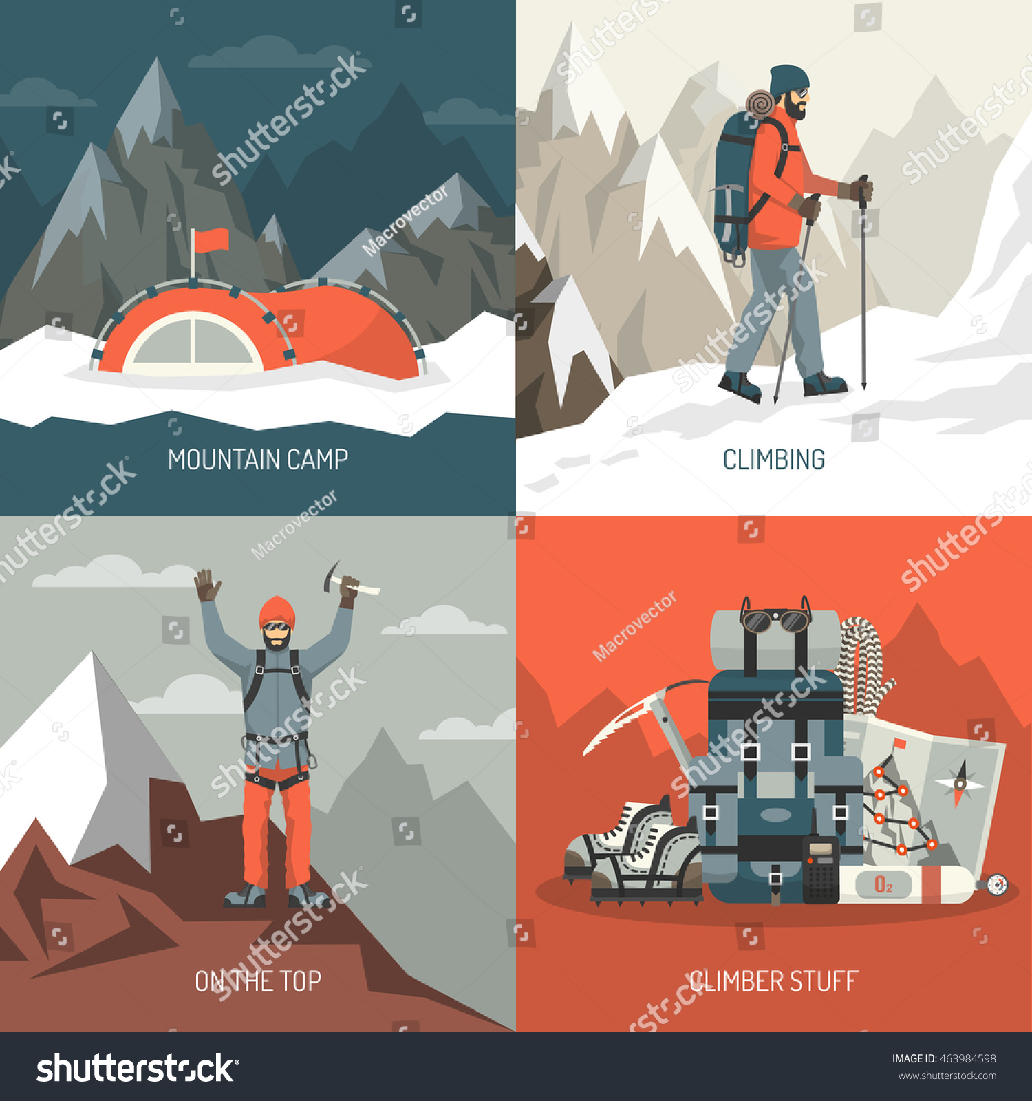 color flat composition 2x2 depicting mountain stock vector