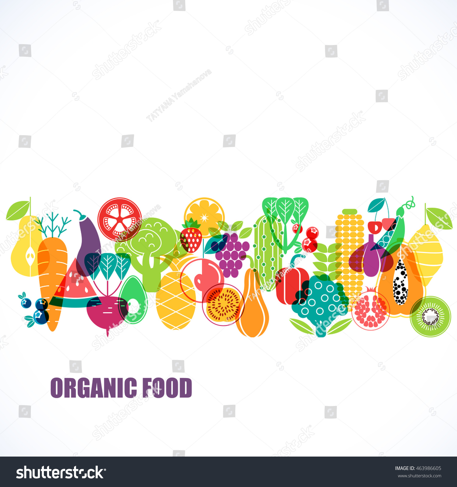 Vector pattern of vegetables. Organic fruits and vegetables template.  #463986605