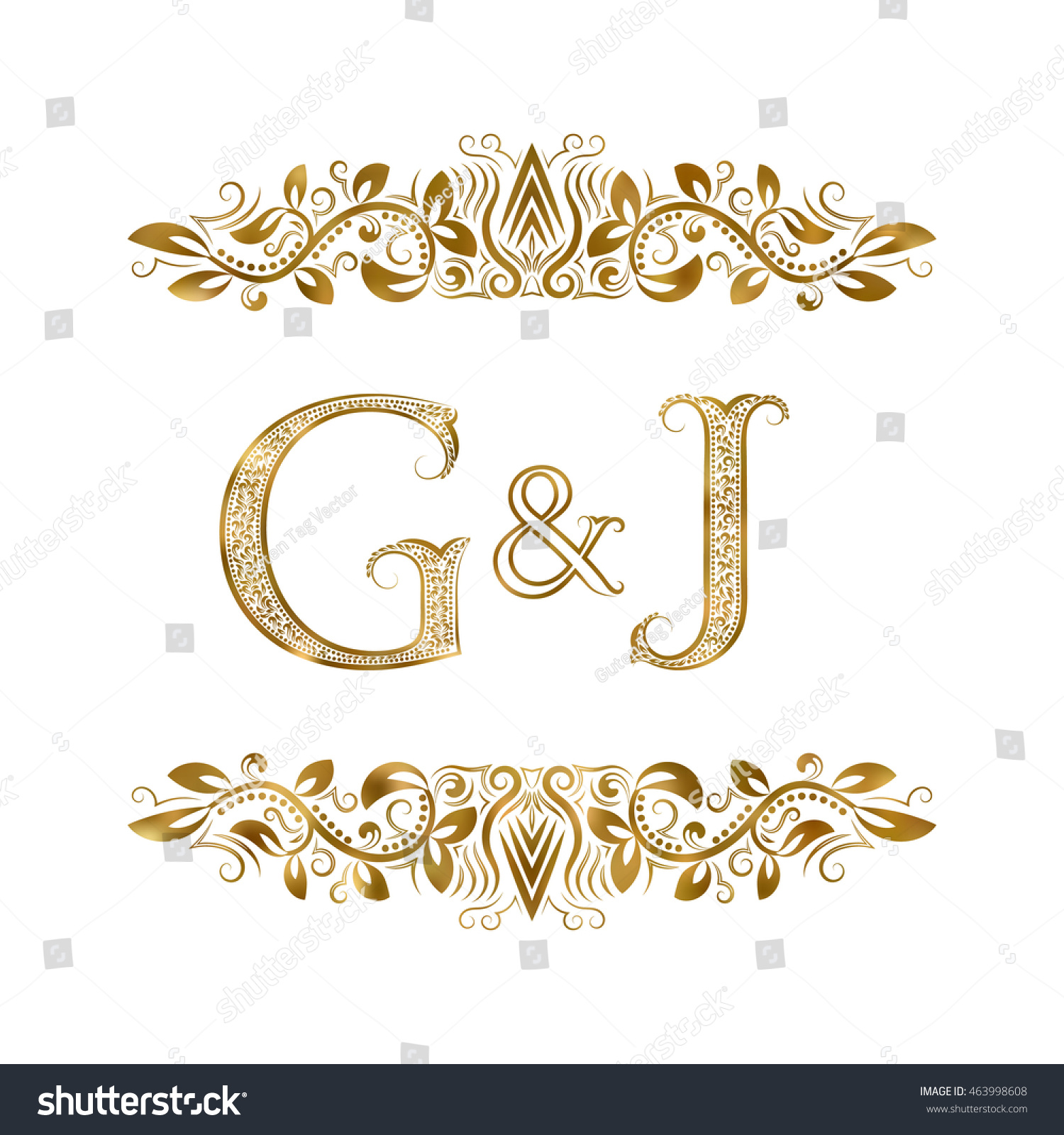 Royalty Free G And J Vintage Initials Logo Symbol 463998608 Stock