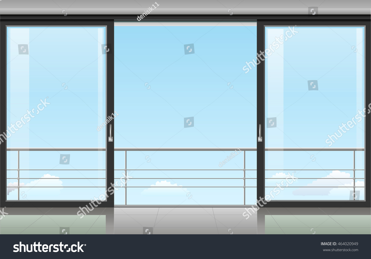The wall at home or with a sliding door and overlooking the sky Vector illustration