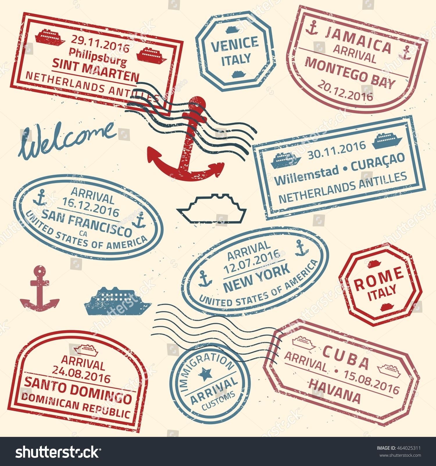Travel Stamps Vector Background Grunge Fictitious Stock Vector 464025311 - Shutterstock