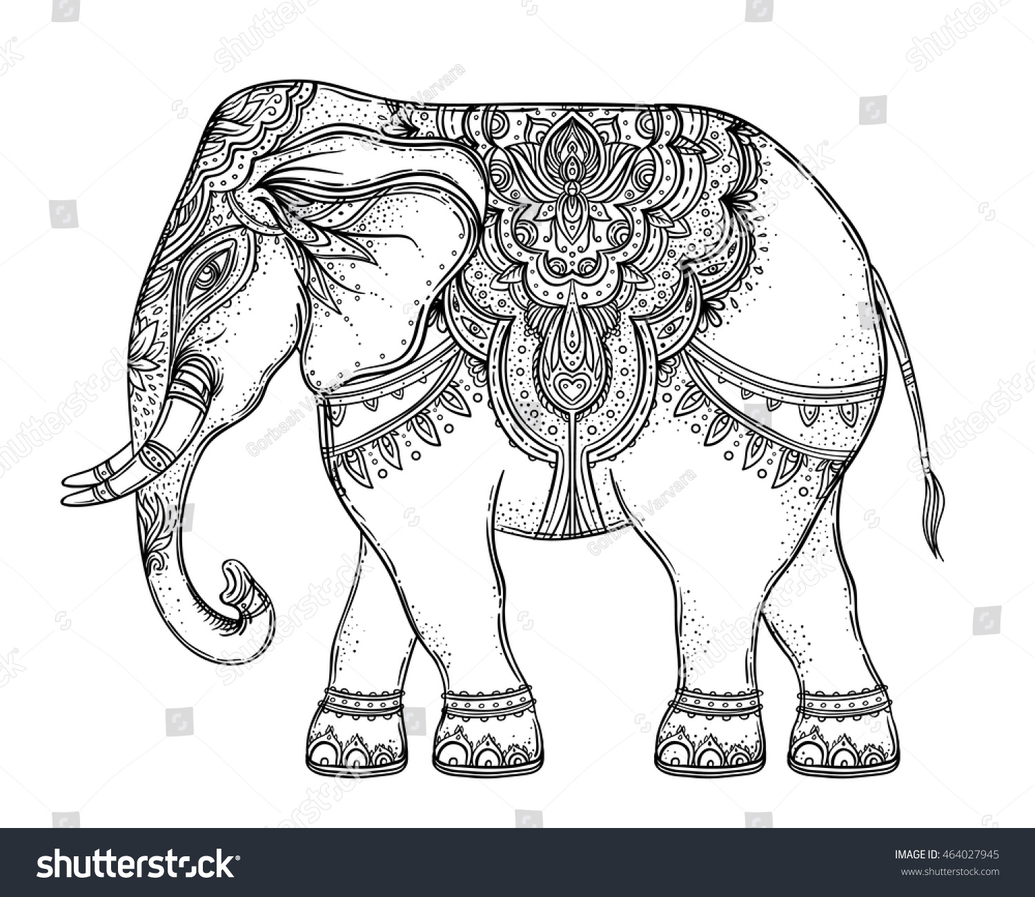 Beautiful Handdrawn Tribal Style Elephant Coloring Stock Vector 464027945