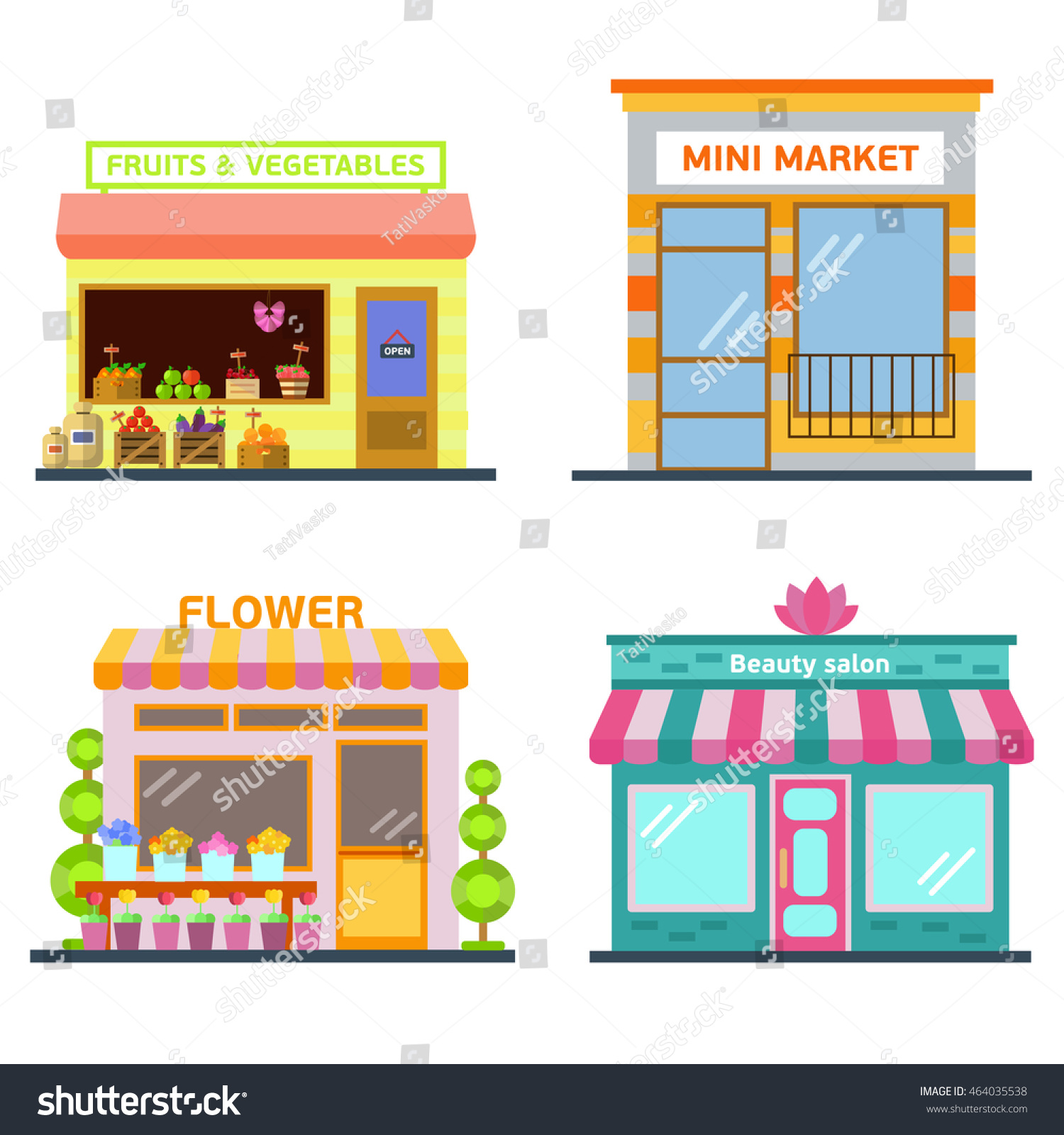 Set Of Nice Shops Different Showcases Flower Fruit And Vegetable Store Mini
