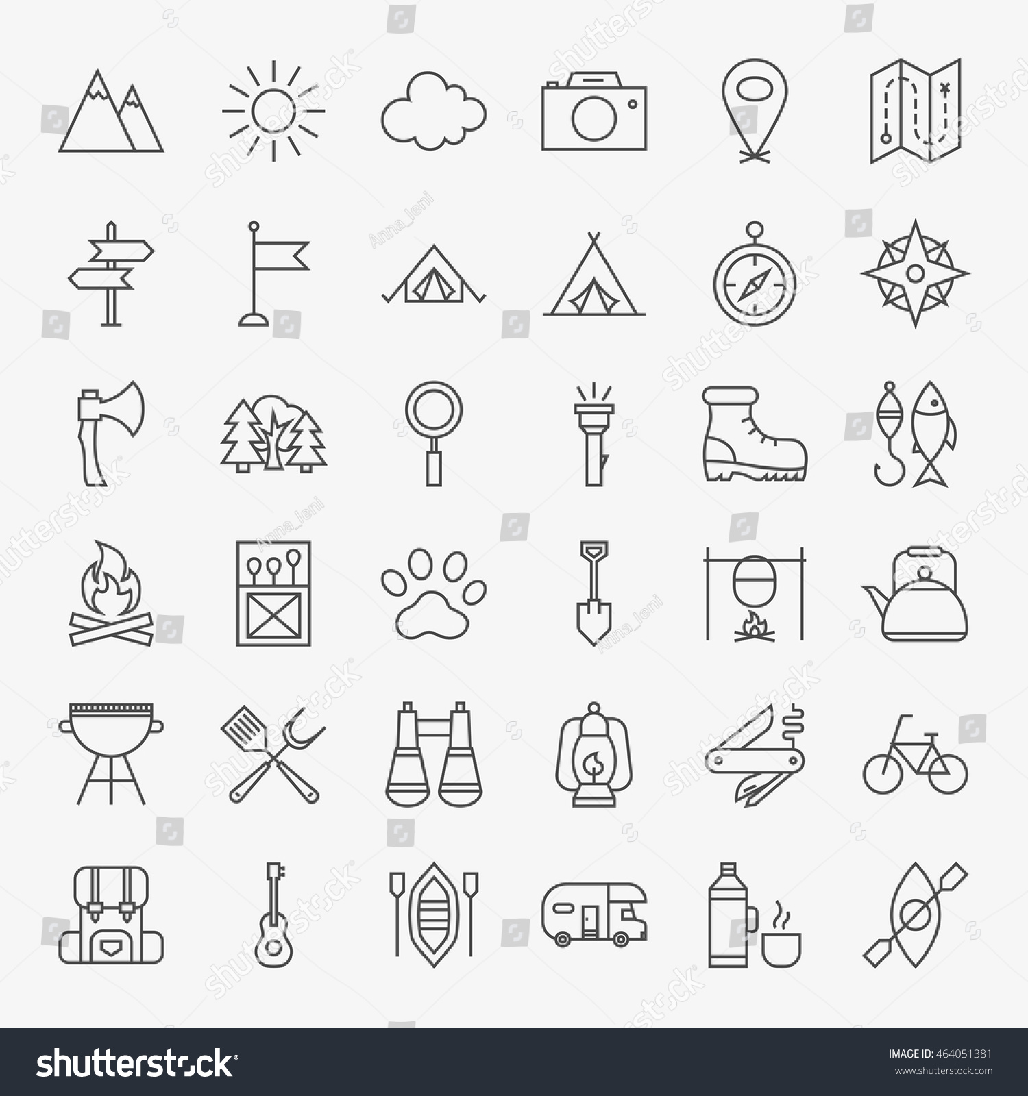 hiking outdoor line icons set vector stock vector