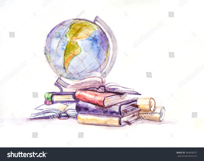 Globe Books Watercolor Stock Illustration 464058257 - Shutterstock