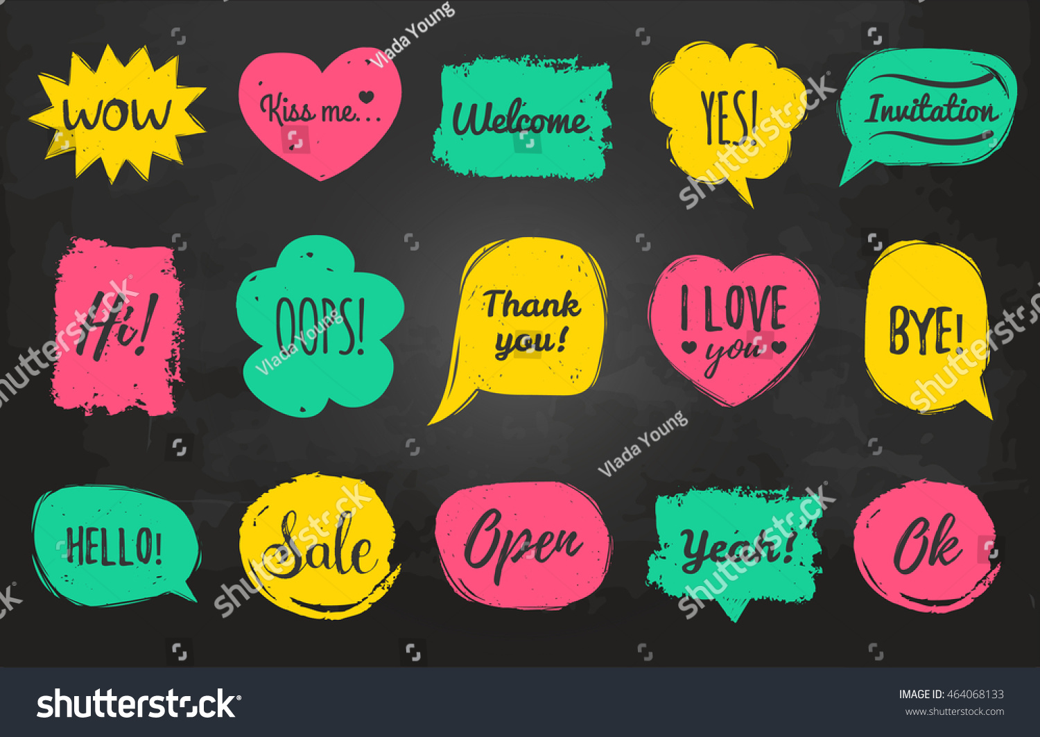 Vector Hand Drawn Set Speech Bubbles Stock Vector (Royalty