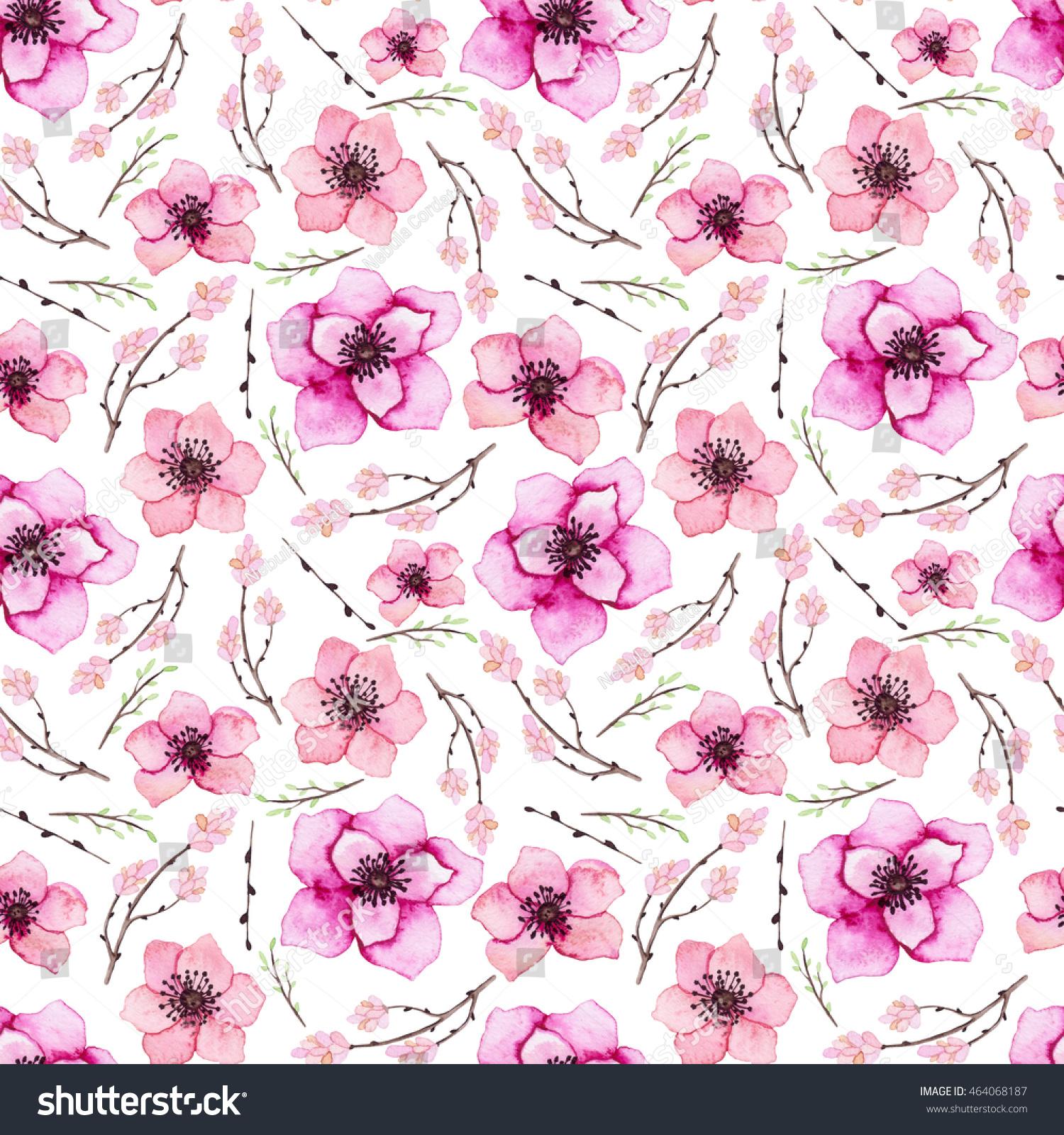 Watercolor Tropical Pink Flowers Seamless Texture Ez Canvas