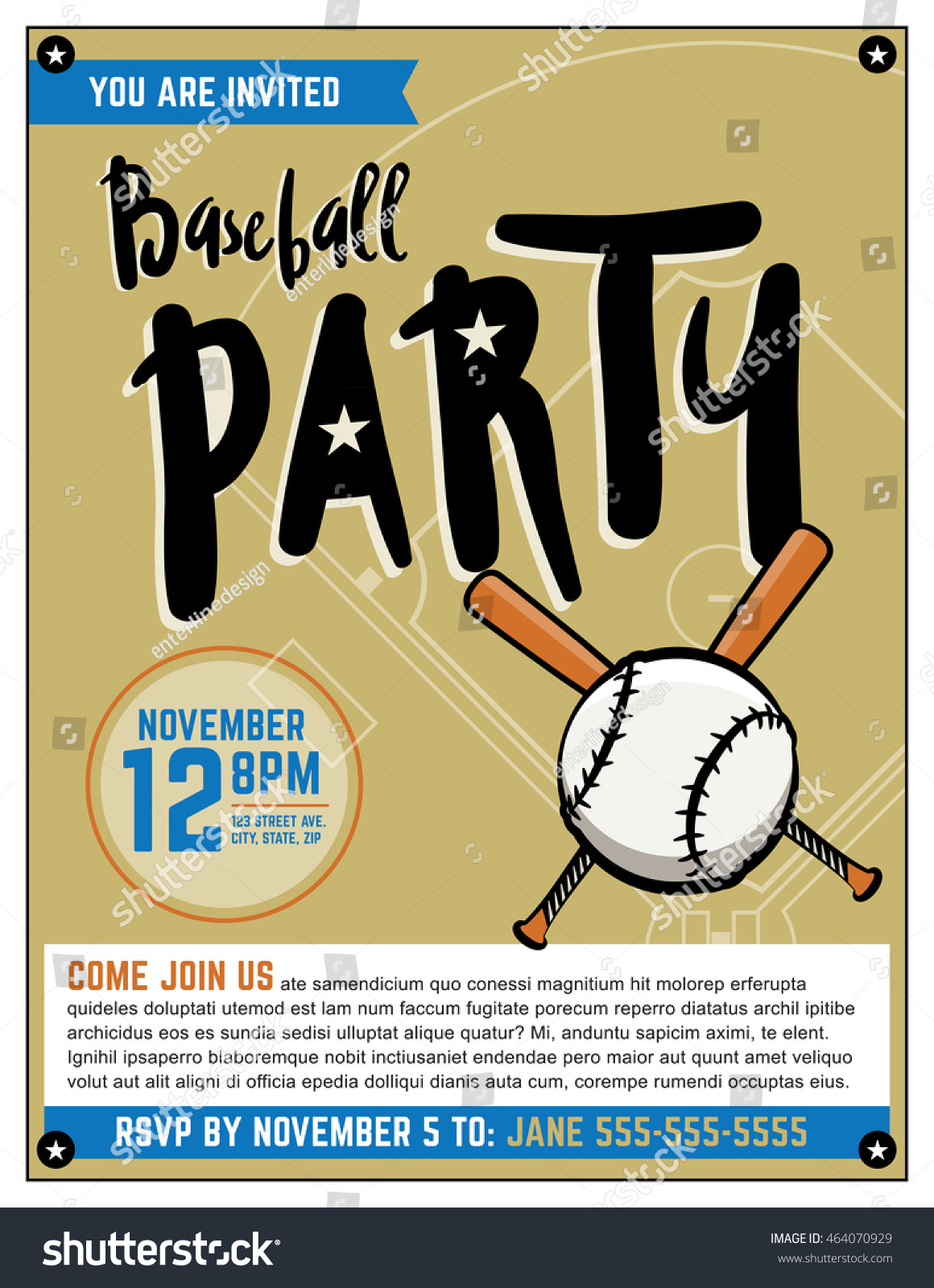 Baseball themed party invitation template vector stock vector baseball themed party invitation template vector stock vector 464070929 shutterstock stopboris Images