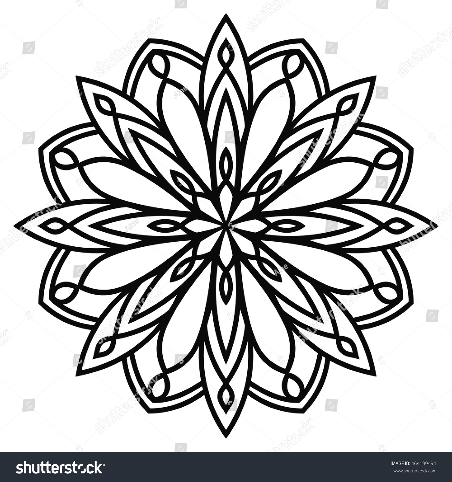 Floral design in circle stock vector image 75615991 - Stock Vector Black Outline Flower Round Mandala Ornament Geometric Circle Element For Design Birthday And 464199494