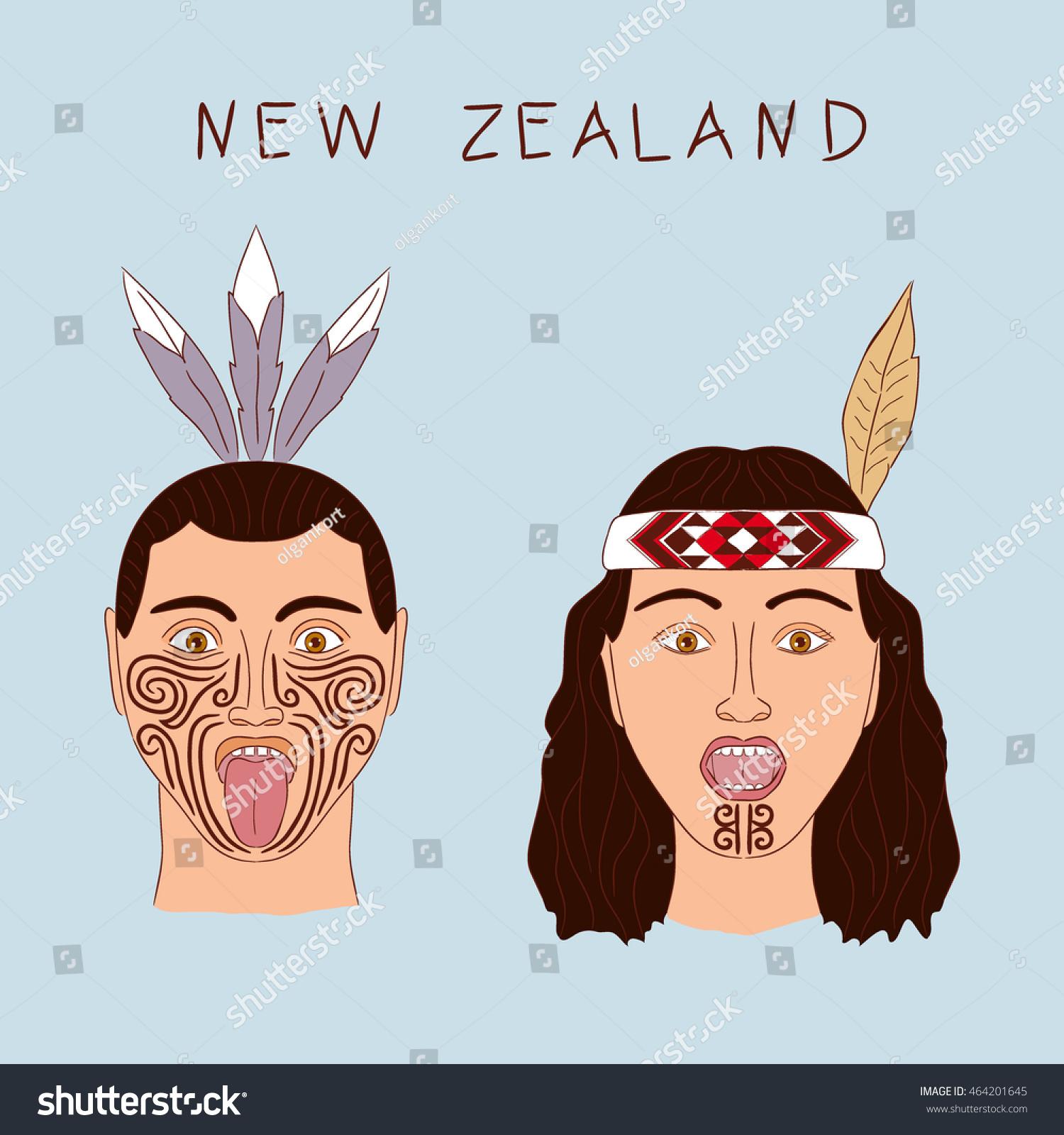 new zealand maori tribe man woman stock vector 464201645. Black Bedroom Furniture Sets. Home Design Ideas