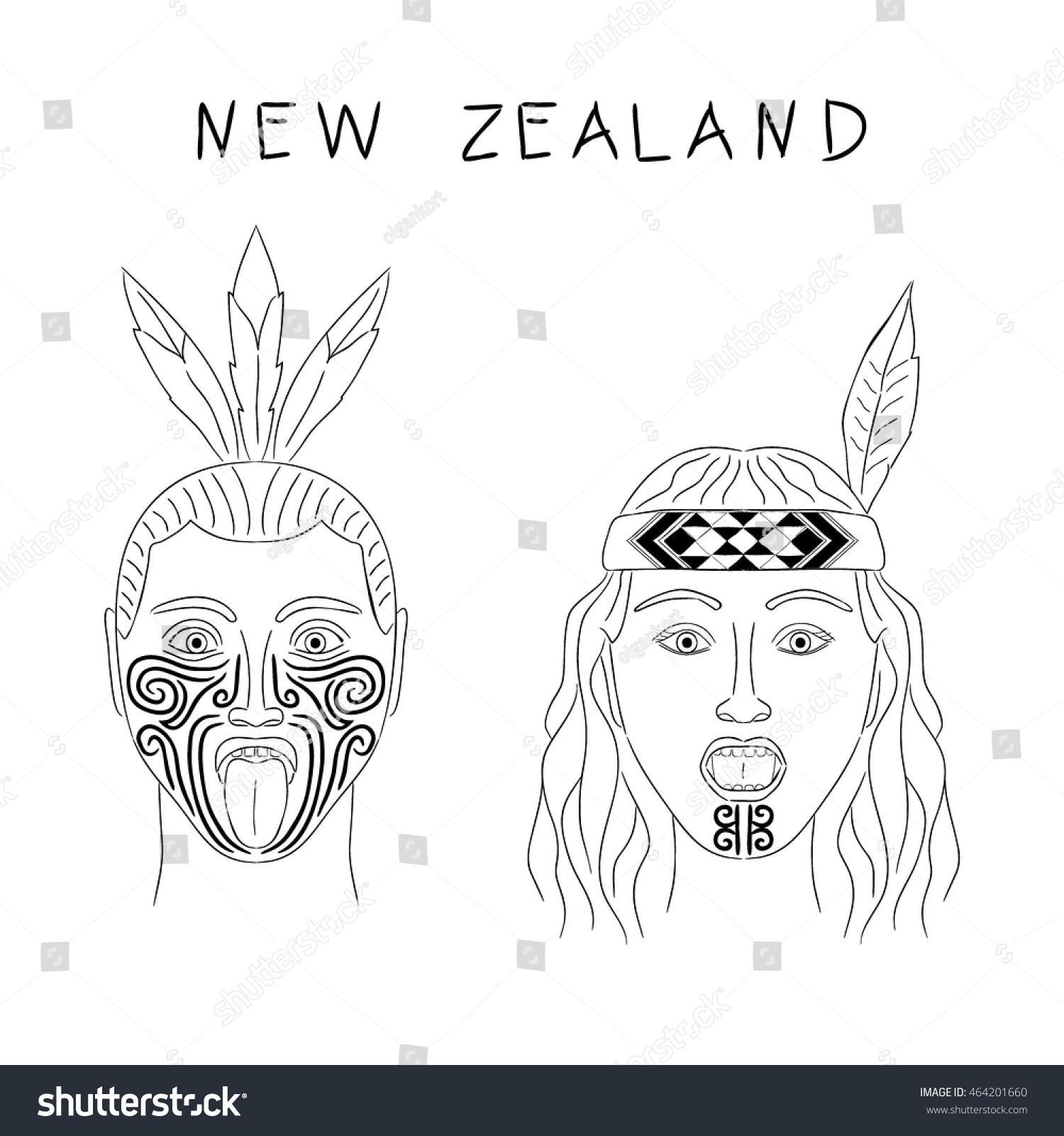 new zealand maori tribe man woman stock vector 464201660. Black Bedroom Furniture Sets. Home Design Ideas