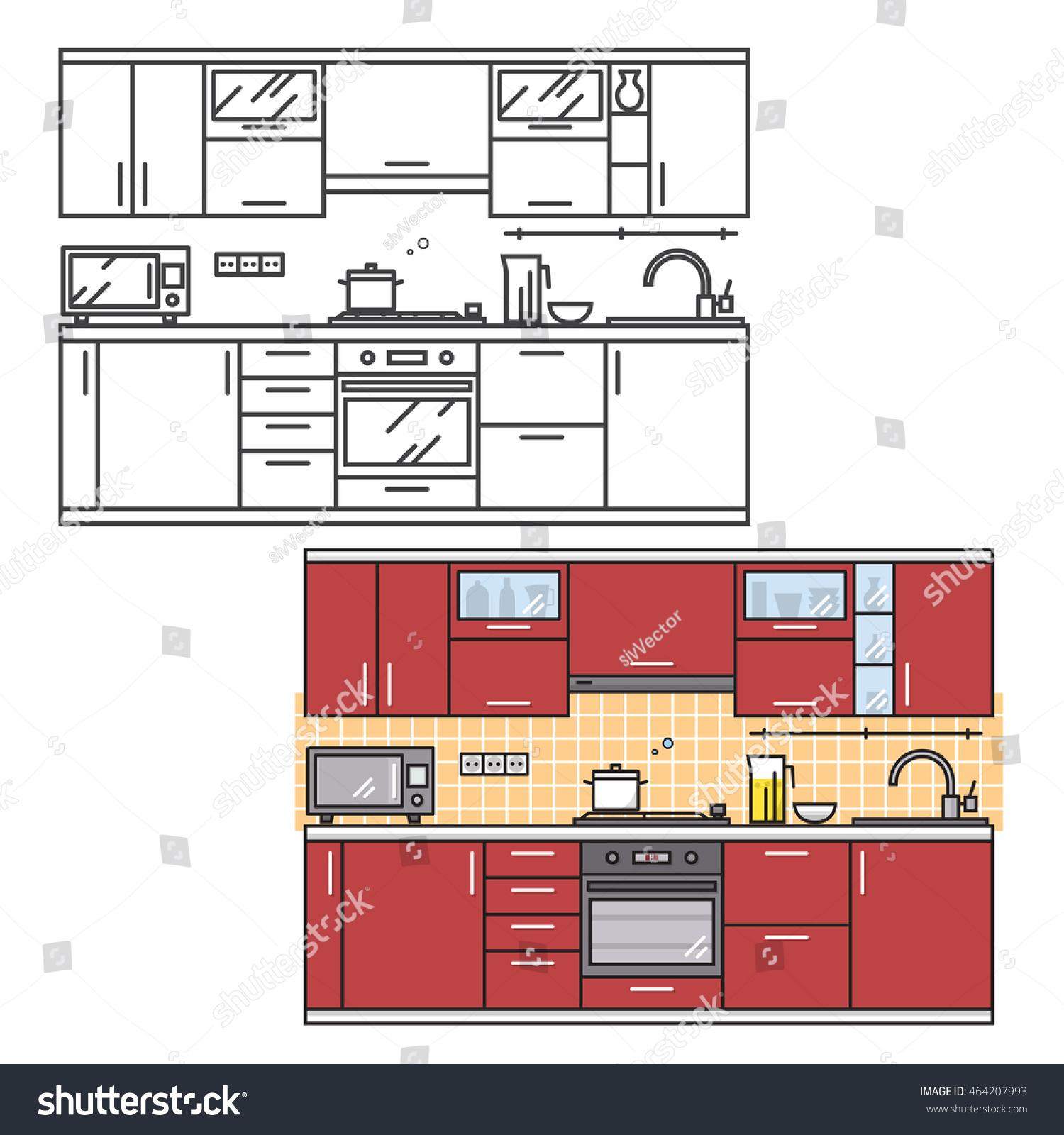 Modern Kitchen Wall Interior Web Design Stock Vector 464207993 ...