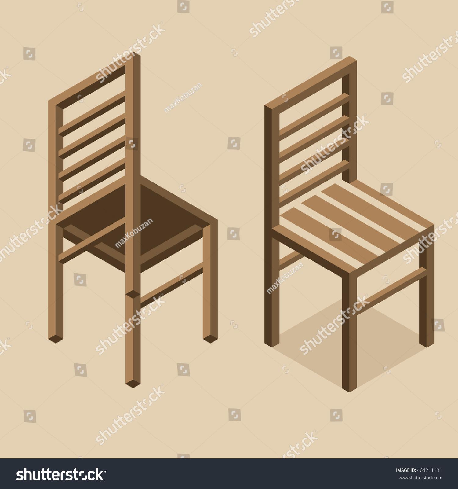 Outstanding Wooden Isometric Classic Chair Illustration Bottom Stock Short Links Chair Design For Home Short Linksinfo