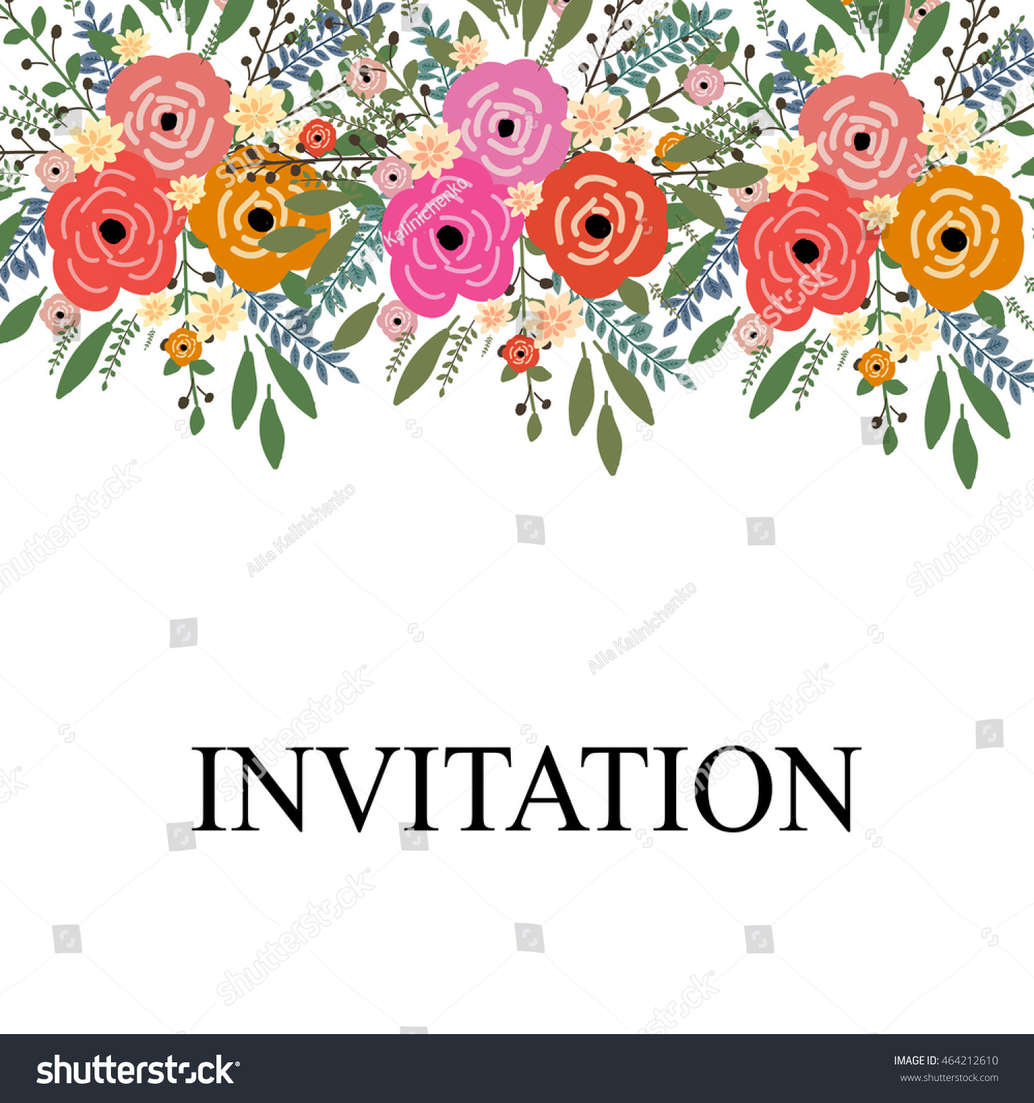 Wedding Invitation Sample Wreath Beautiful Flower Stock Vector ...