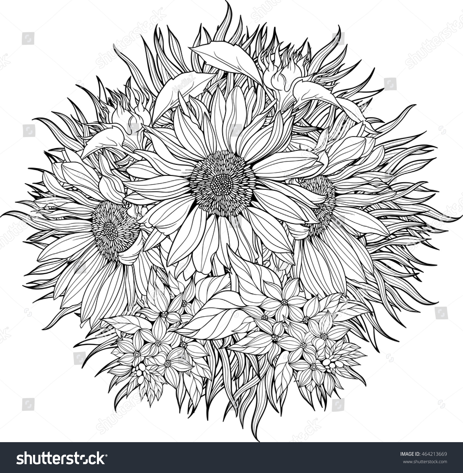 Closeup View Bunch Sunflowers Coloring Page Stock Vector ...