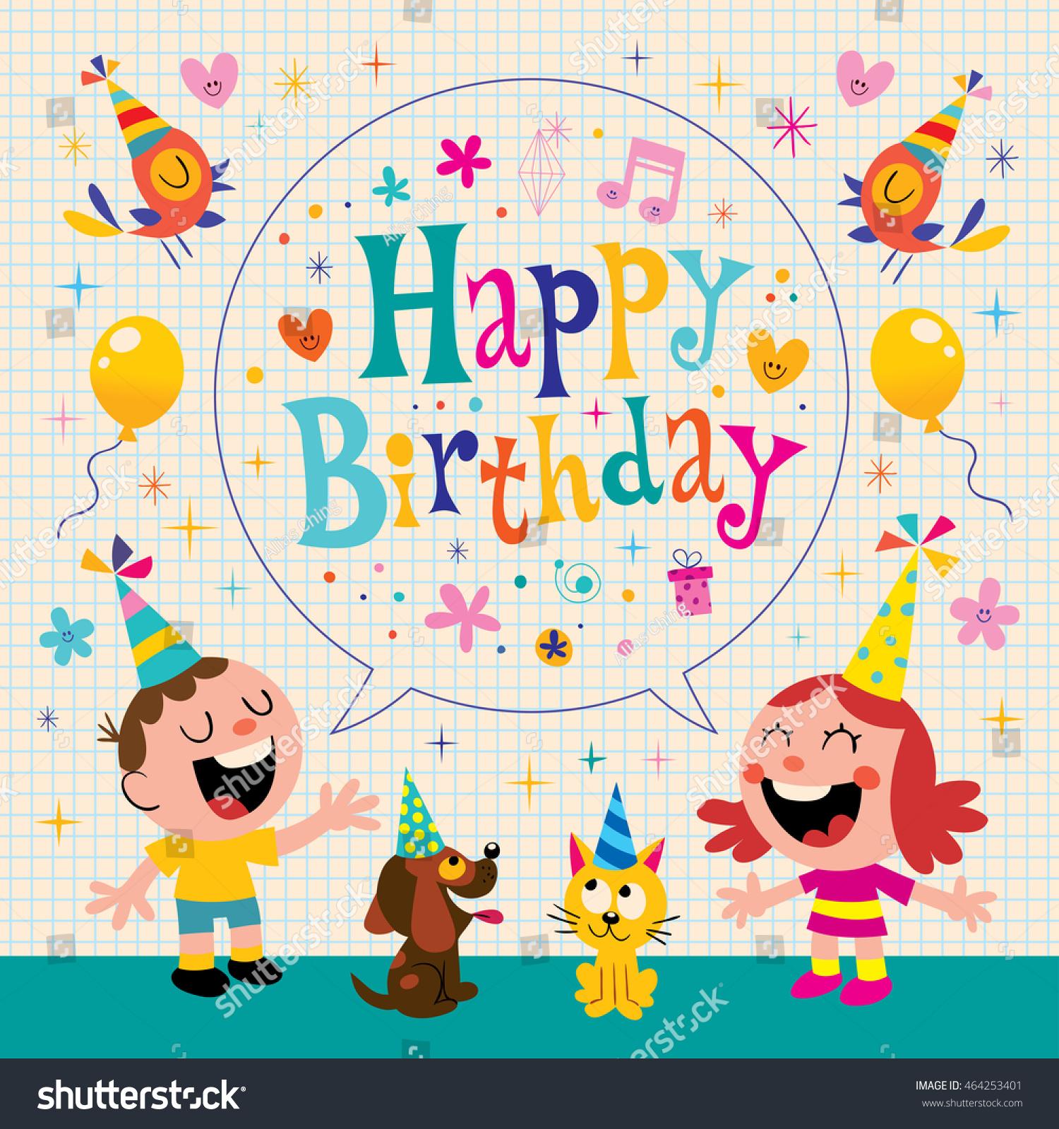 Happy Birthday Kids Greeting Card Design Stock Vector