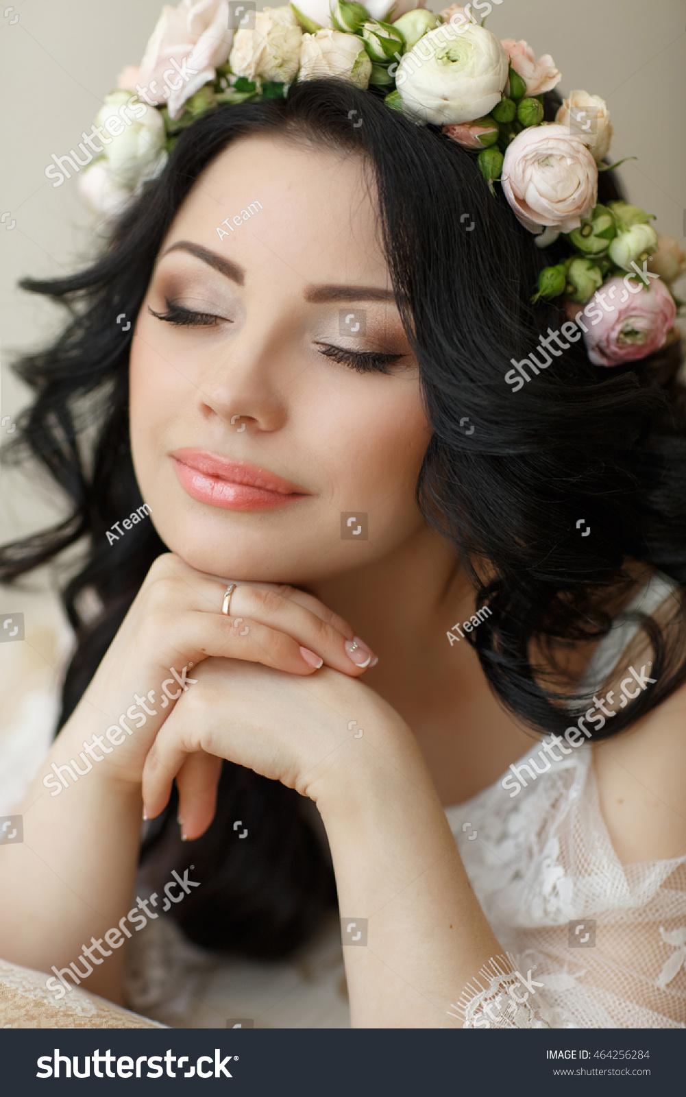 wedding hairstyle makeup beautiful young bride stock photo