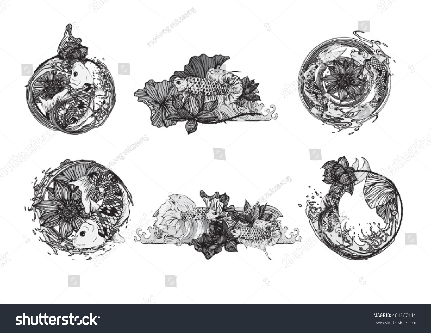 Set hand drawn vector illustration koi stock vector 464267144 set hand drawn vector illustration of koi fish with lotus leaves and flower symbol of biocorpaavc Choice Image
