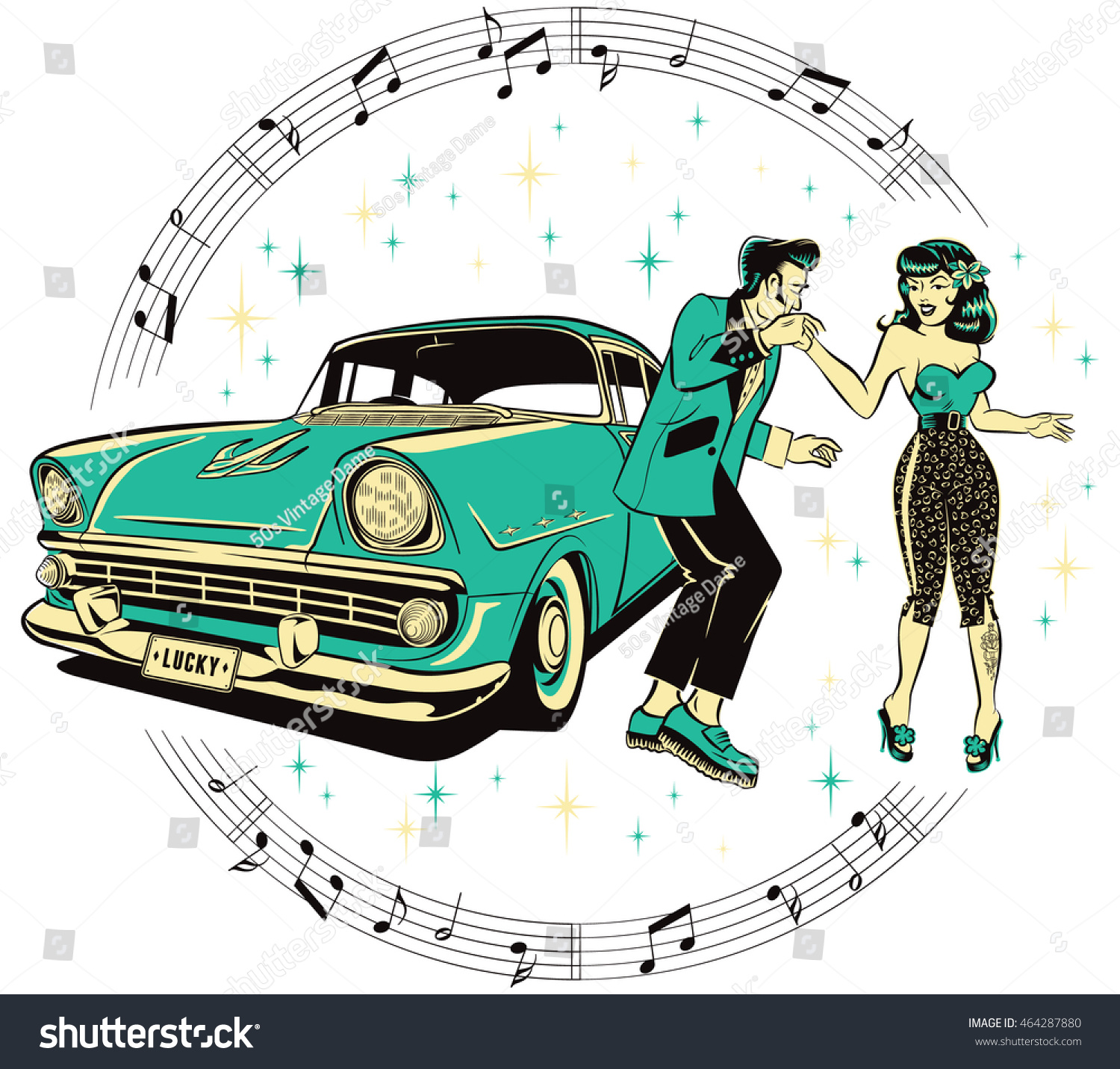 Create A Rockabilly Poster With Vector Set 22: Teddy Boy Rockabilly Pinup Chick Dancing Stock Vector