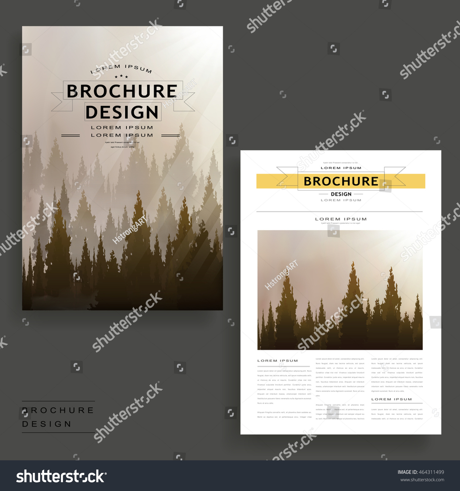 Elegant Brochure Template Design Dreamy Woodland Stock Vector